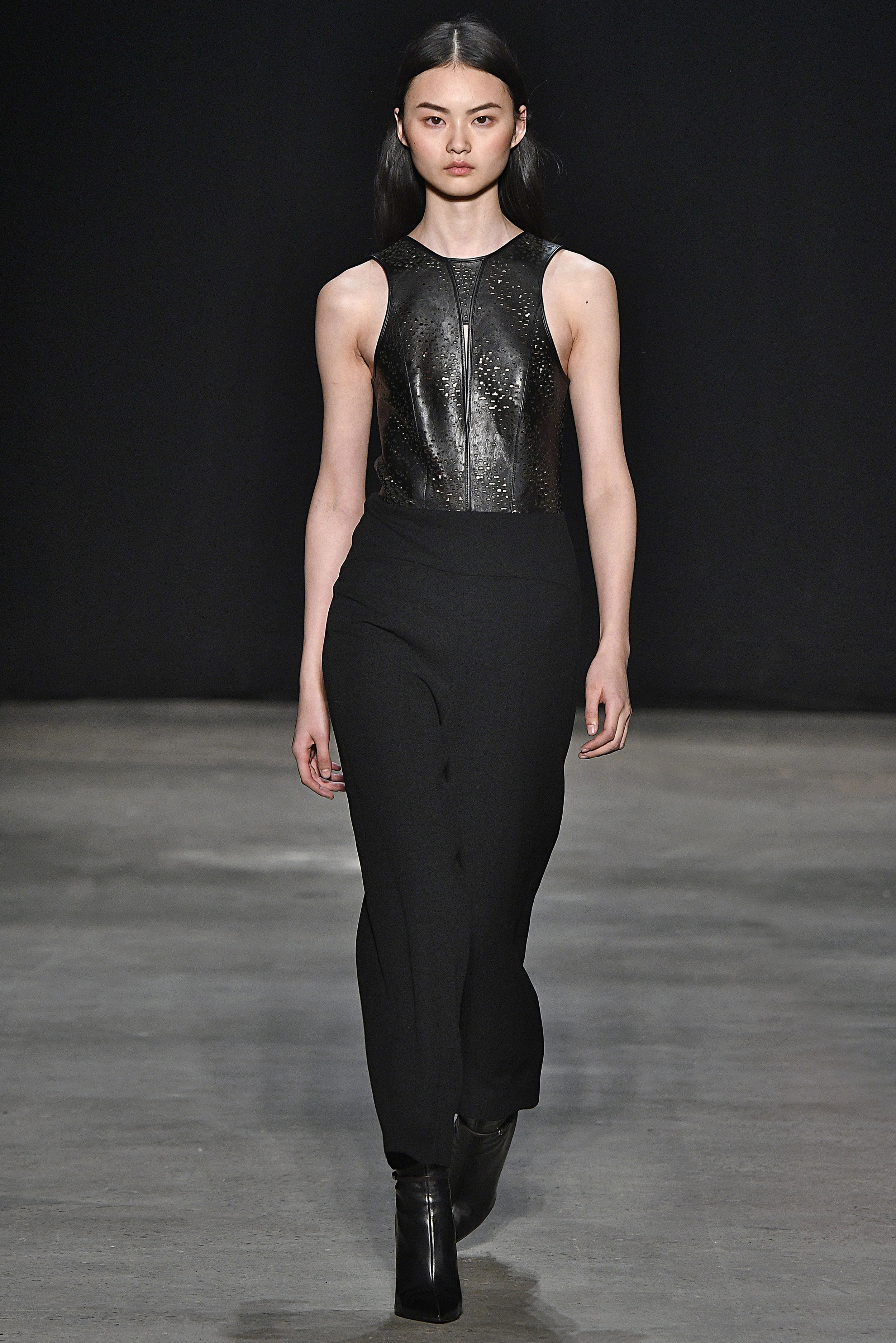 Narciso Rodriguez Fall 2017 collection. Black engraved leather/wool gauze jumpsuit.