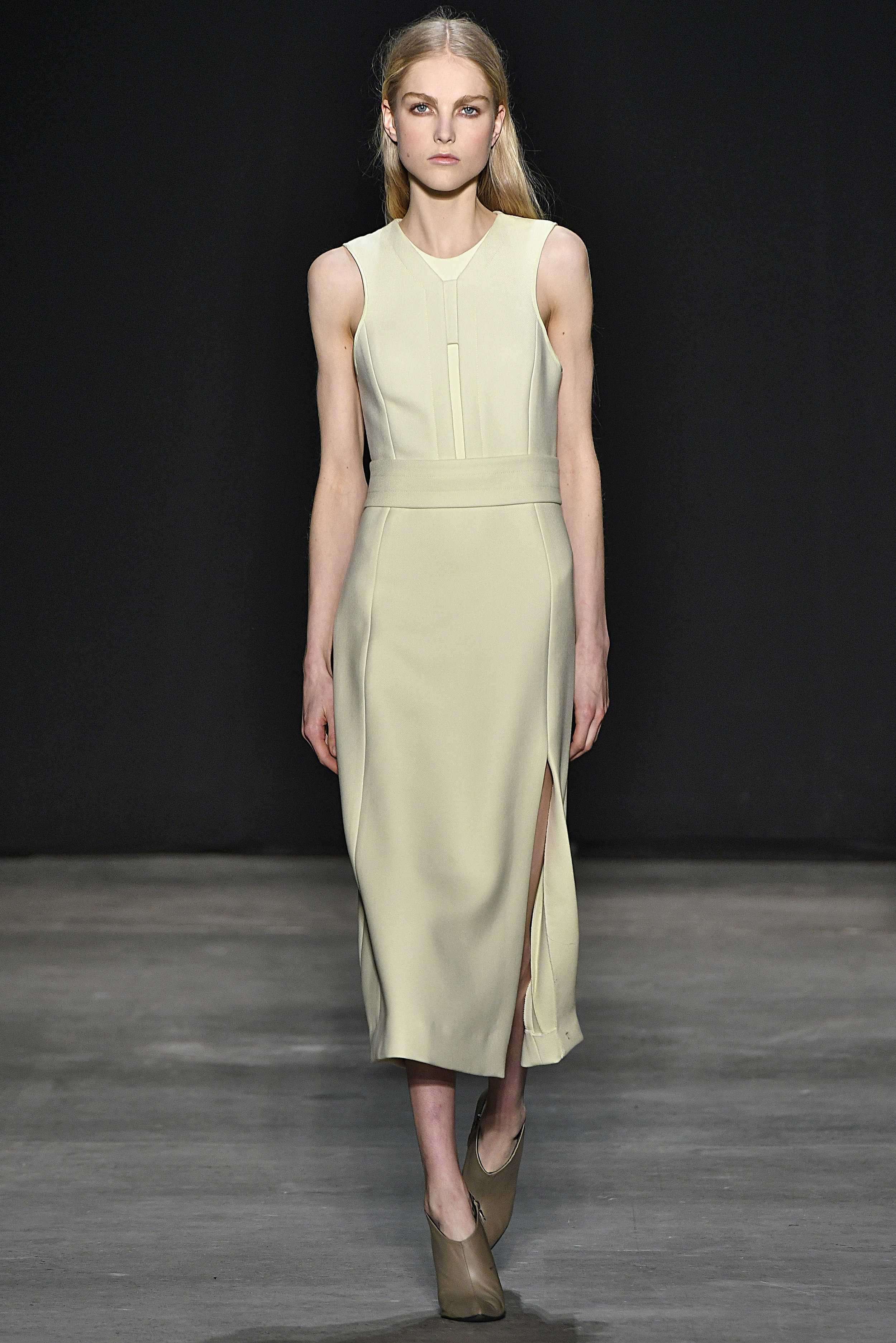 Narciso Rodriguez Fall 2017 collection. Pale yellow wool twill dress.