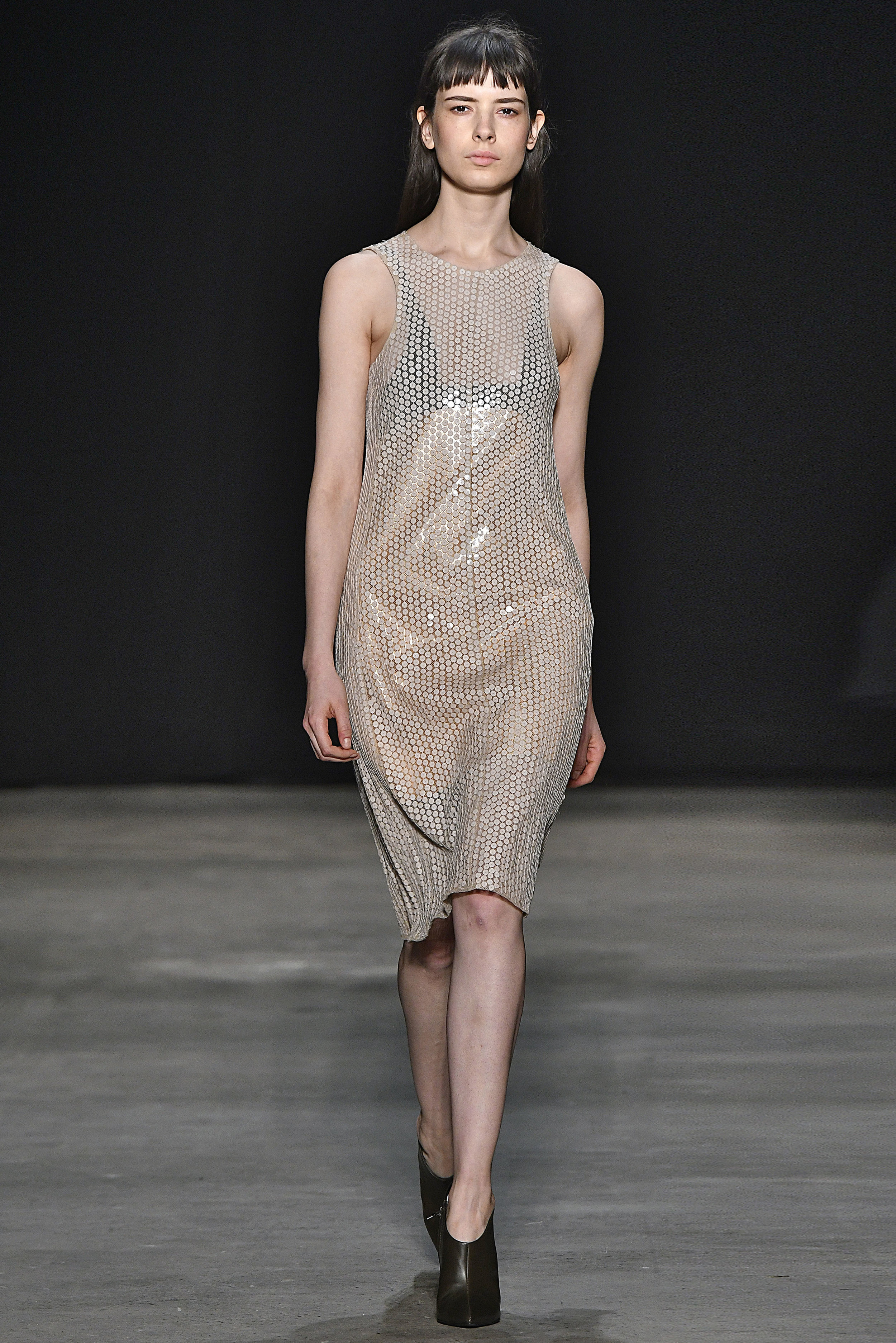 Narciso Rodriguez Fall 2017 collection. Nude hammered paillette dress.