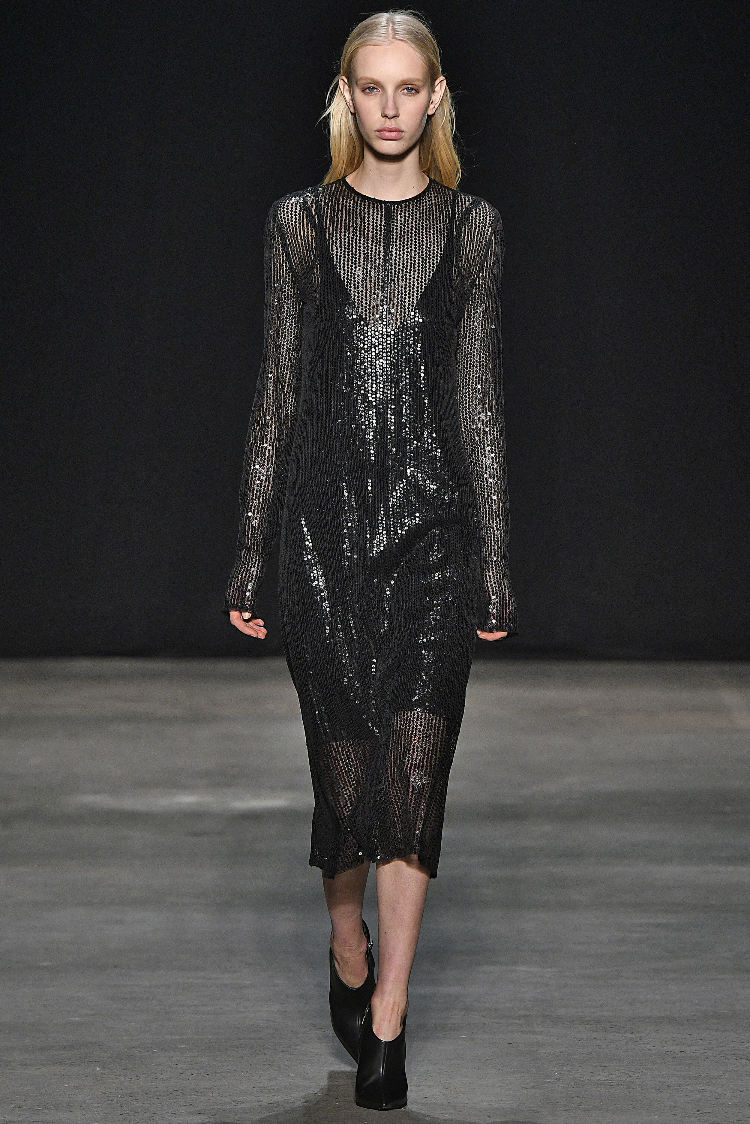 Narciso Rodriguez Fall 2017 collection. Black hammered paillette dress.