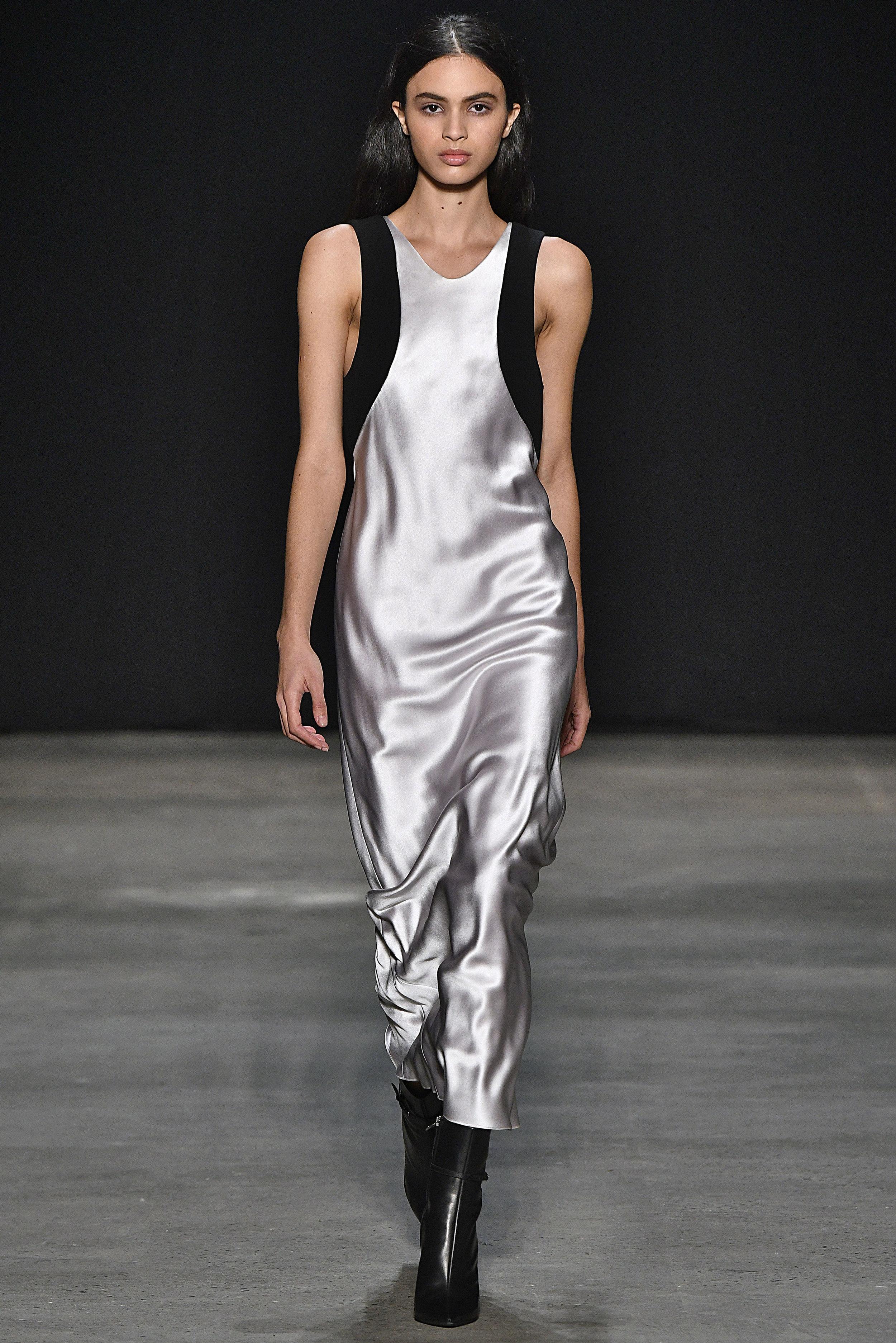 Narciso Rodriguez Fall 2017 collection. Black wool gauze/iris silk dress.