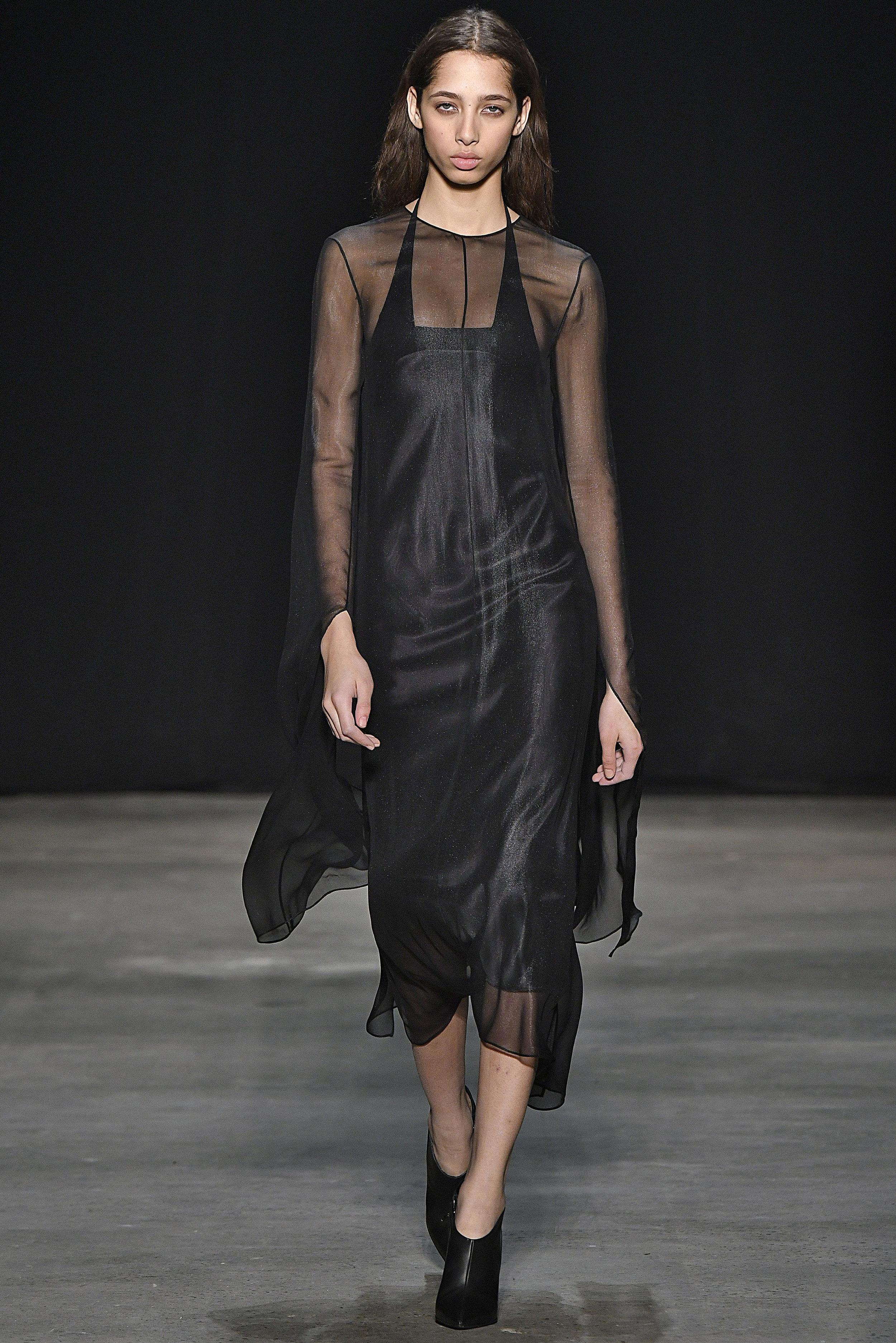Narciso Rodriguez Fall 2017 collection. Black laminated chiffon dress.