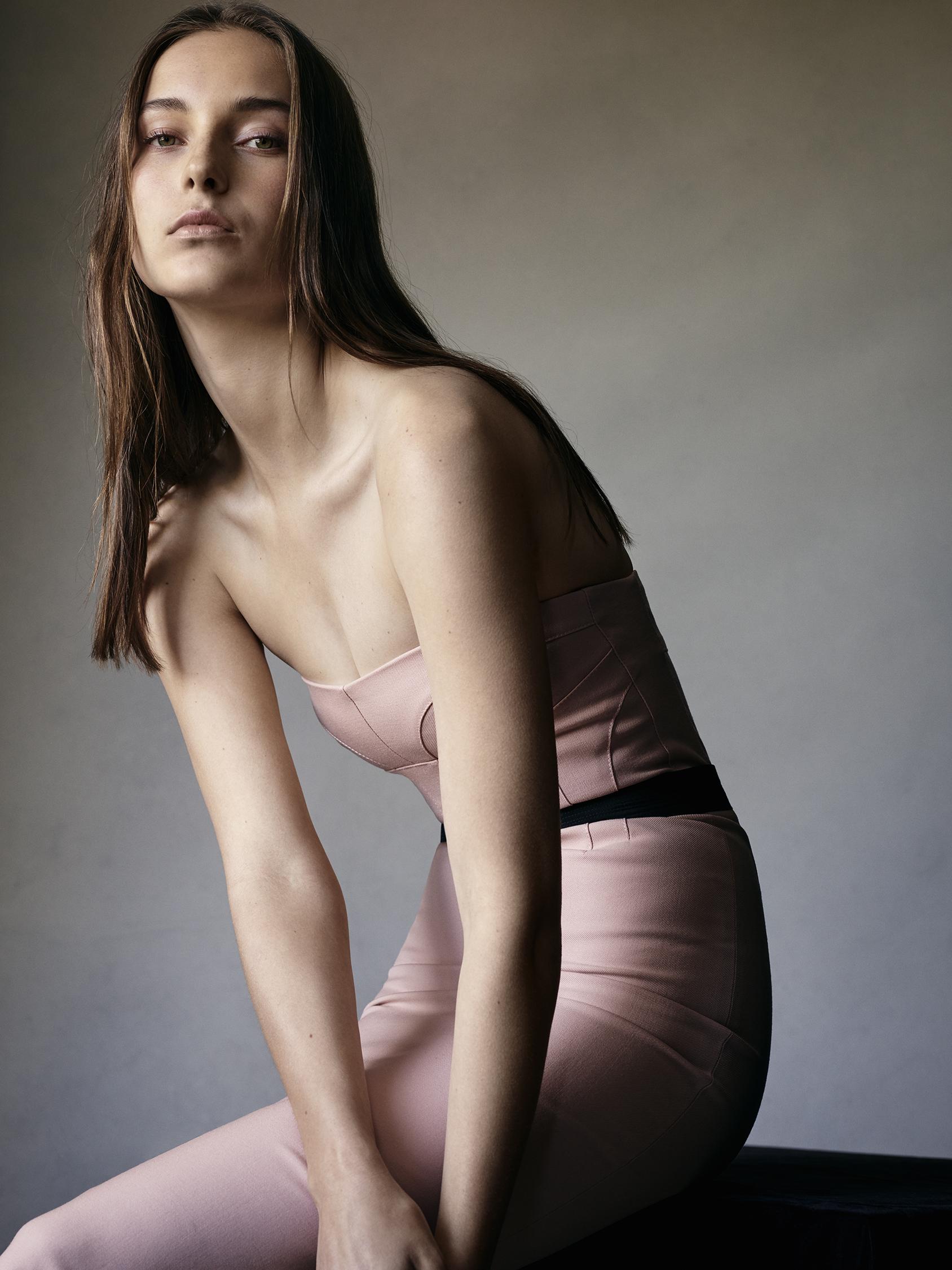 Look 18 Nude wool gabardine strapless dress.