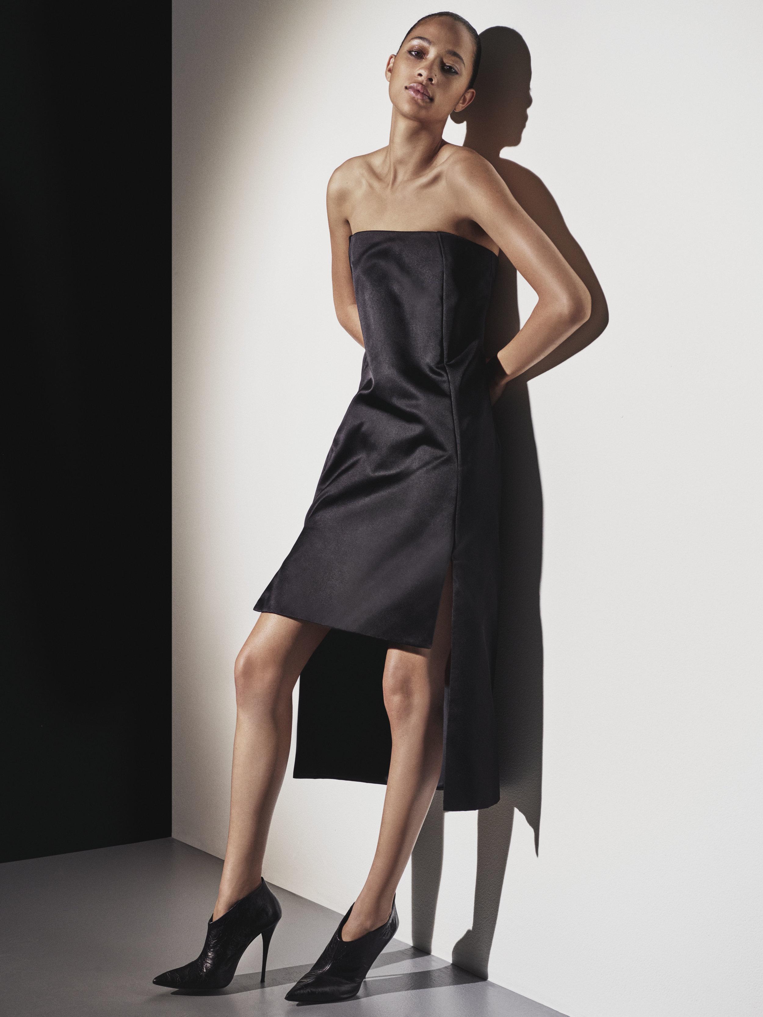 Look 2 Black duchess satin strapless dress.