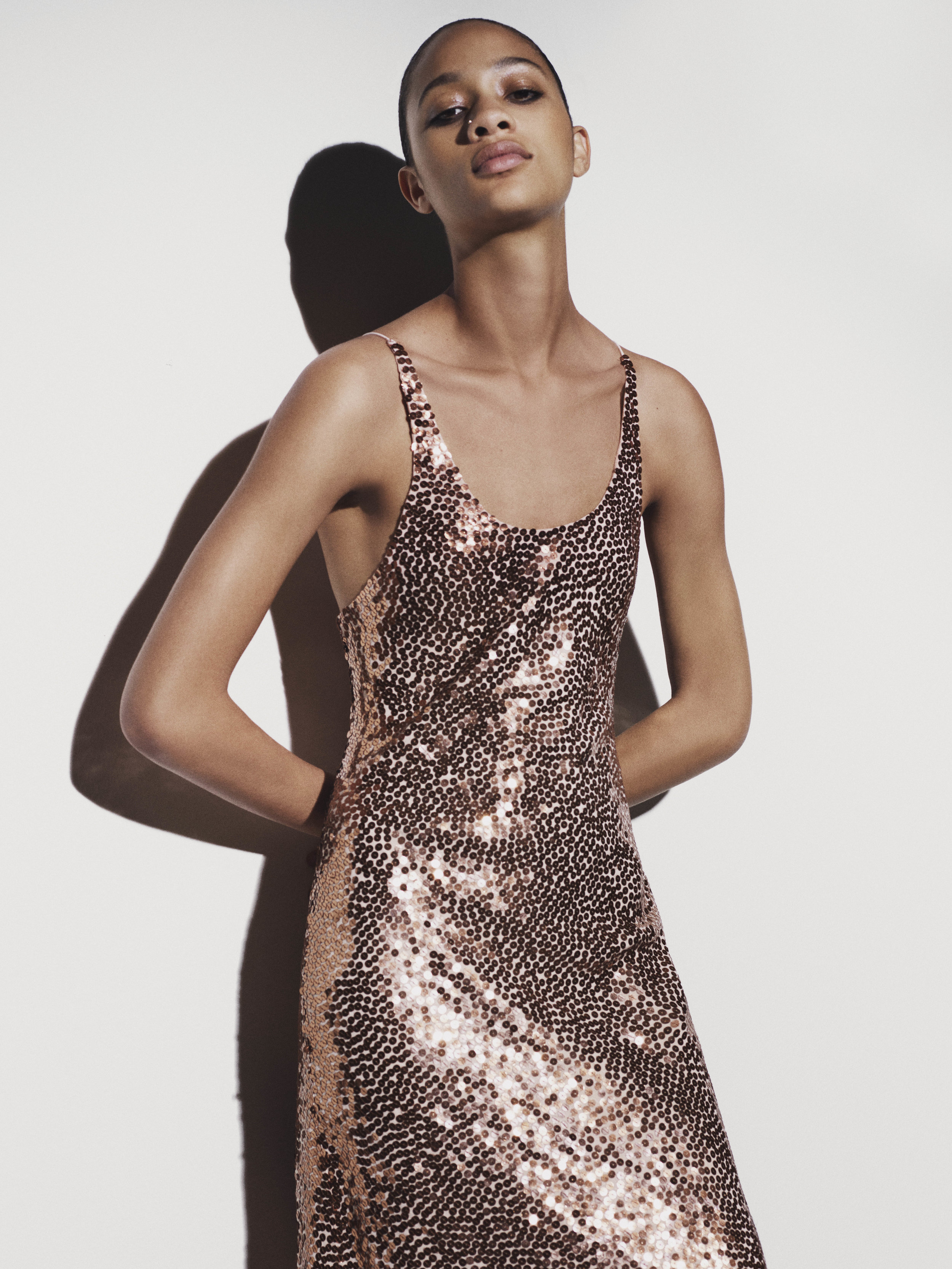 Look 3 Copper sequin embroidered silk dress.