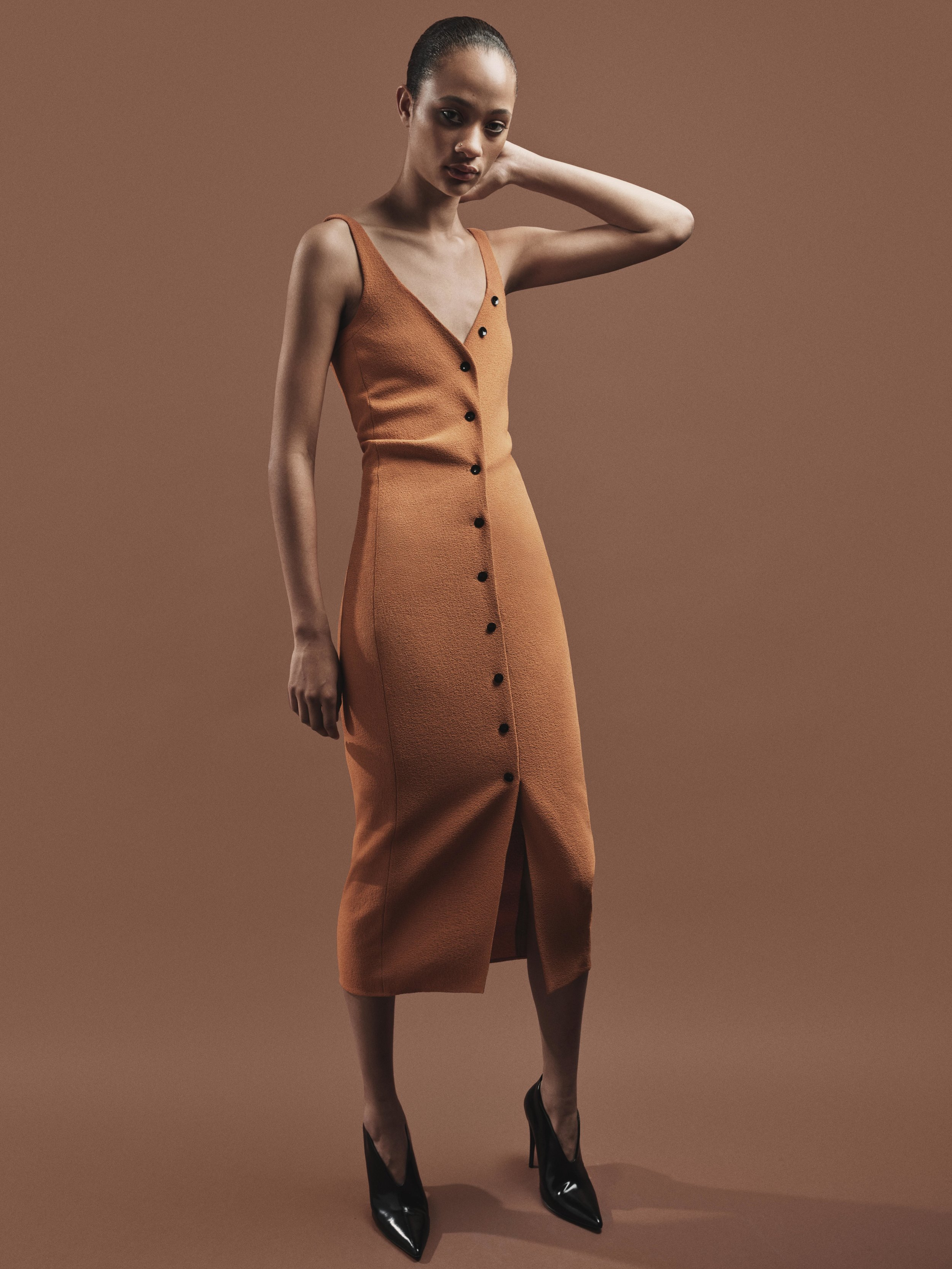 Look 6 Copper wool crepe button front dress.