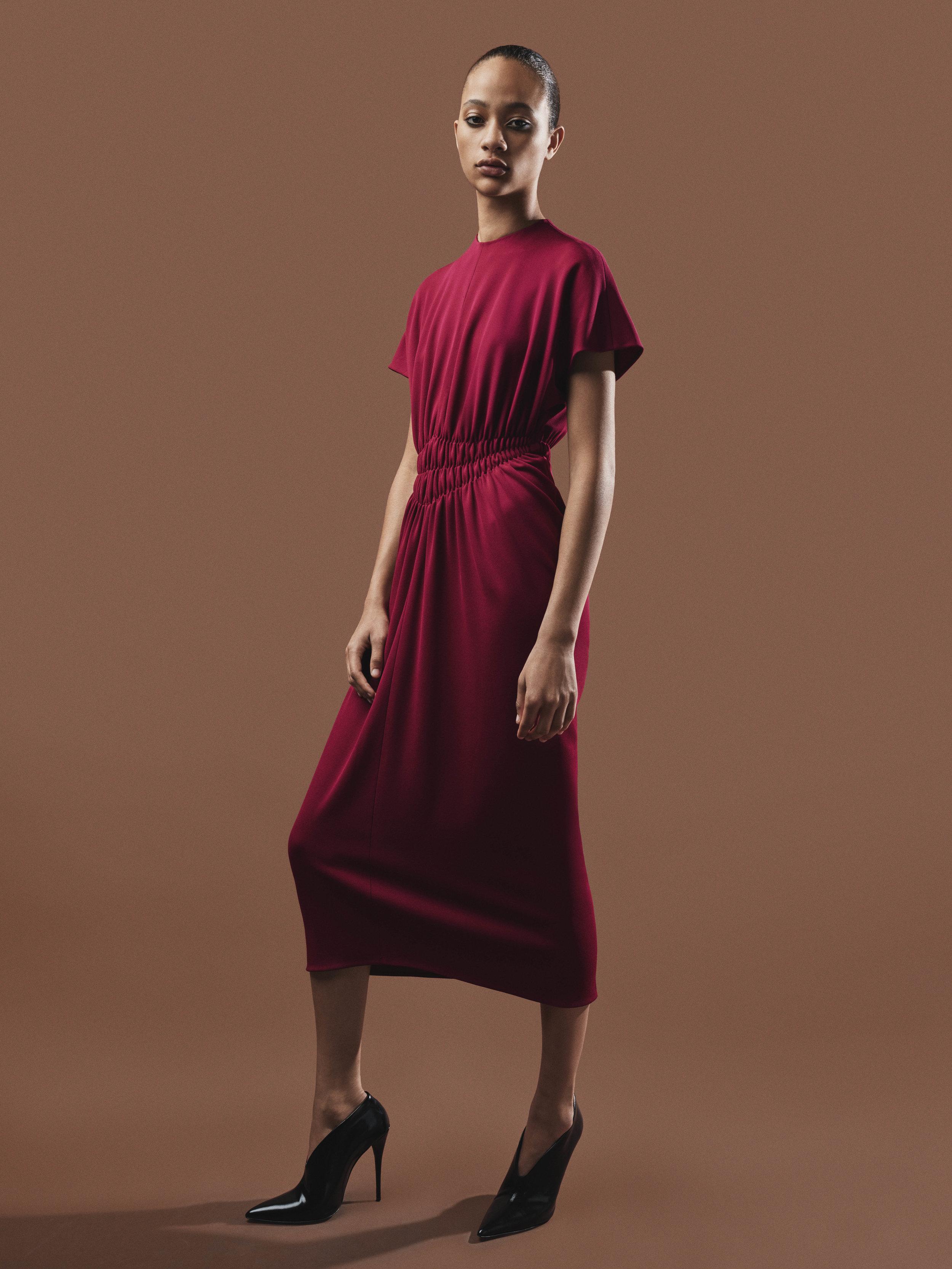 Look 8 Burgundy jersey pleated dress.