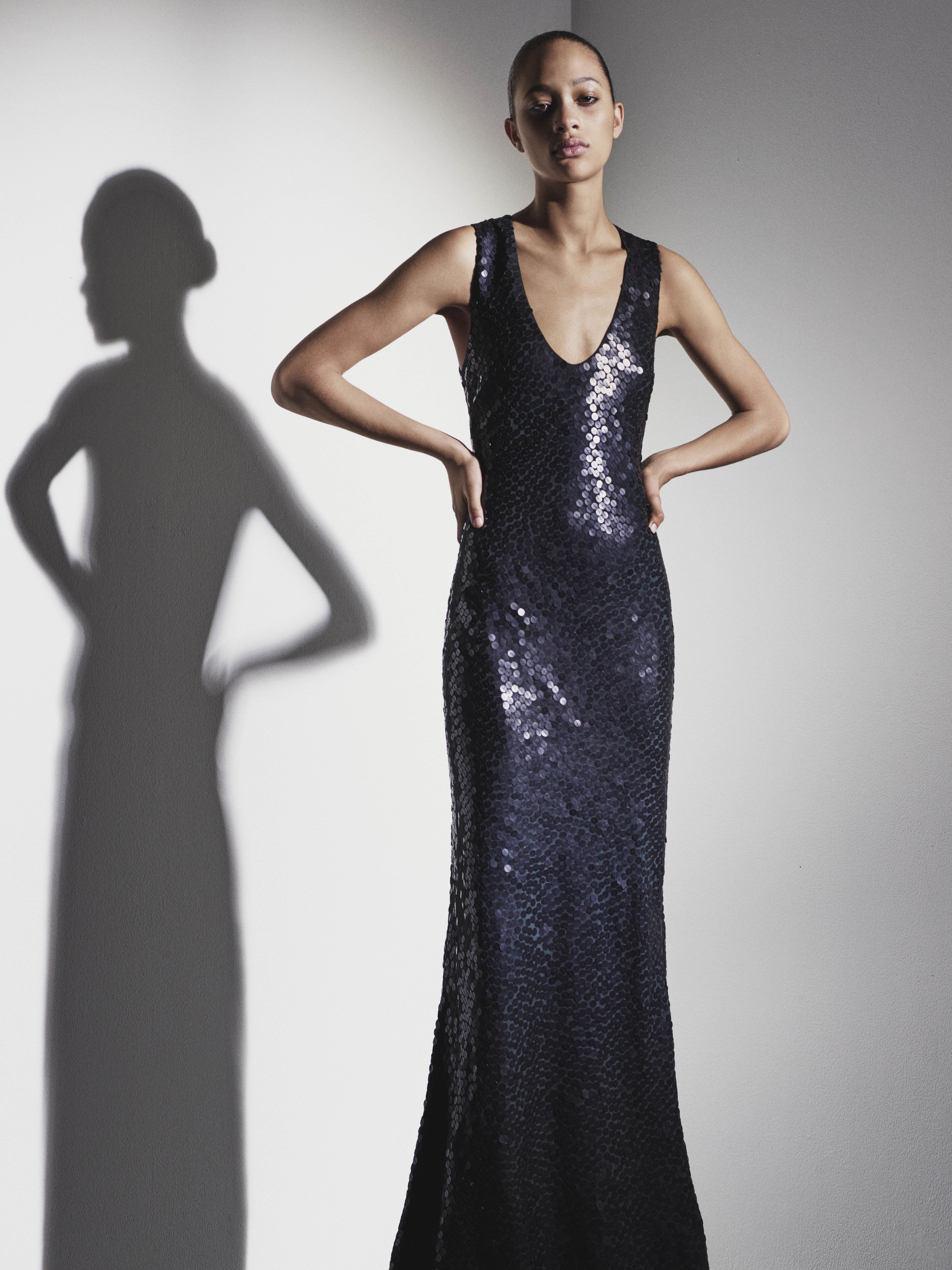 Look 12 Matte black sequin embroidered silk gown.