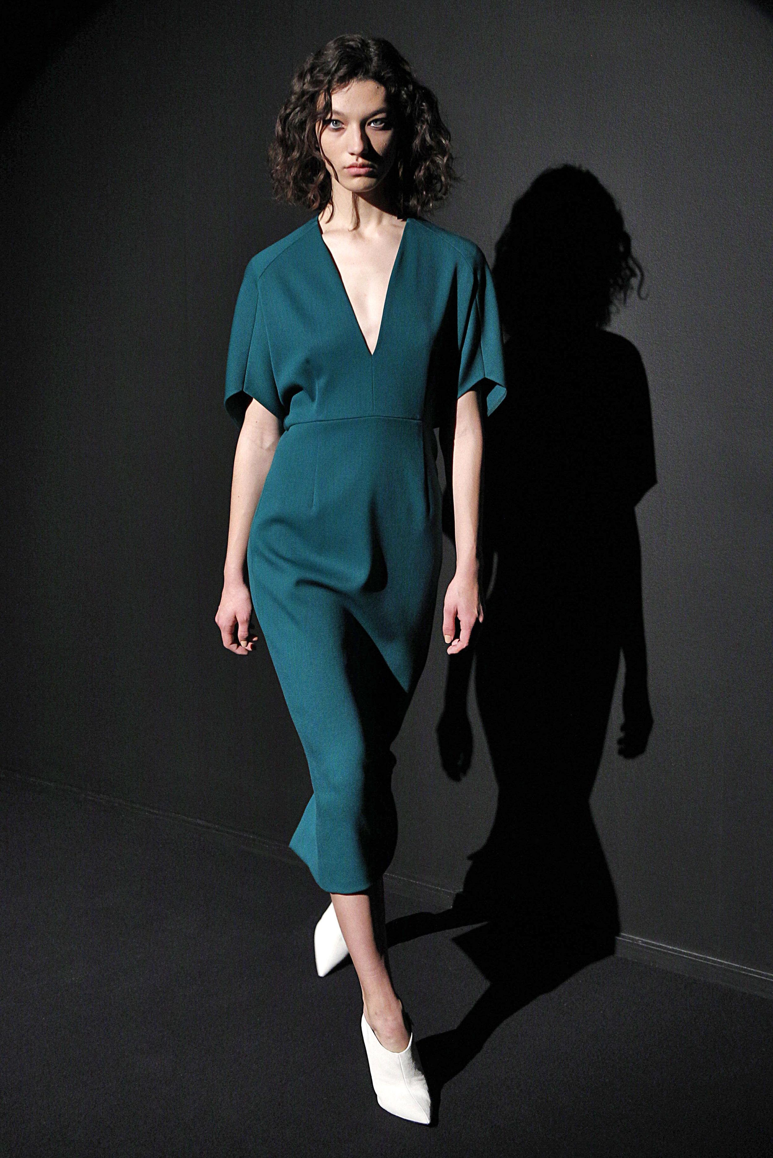 Look 15 Sea green wool barathea dress.