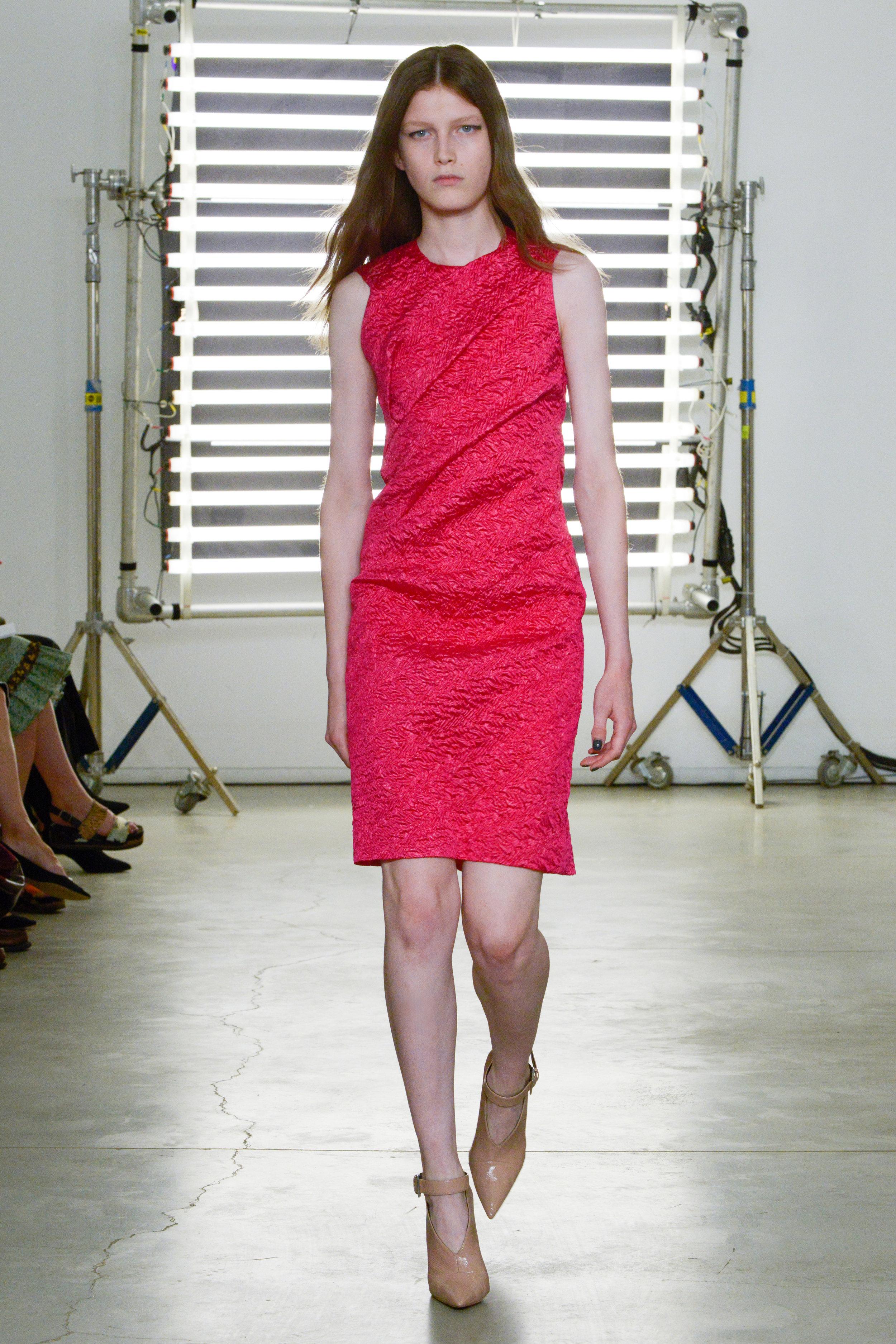 Look 4 Pink silk cloque dress.