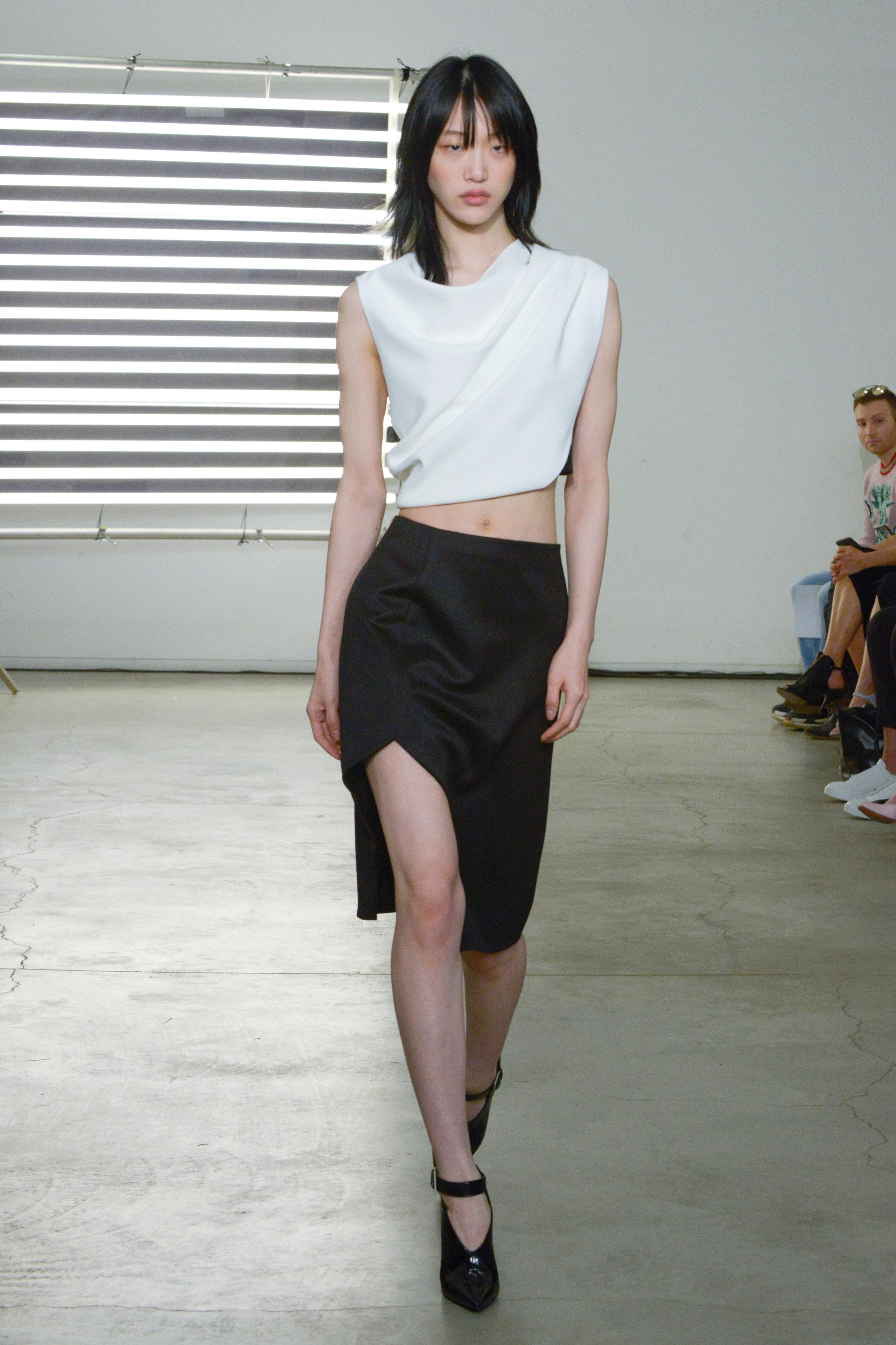 Look 7 White crepe top with black wool sateen skirt.