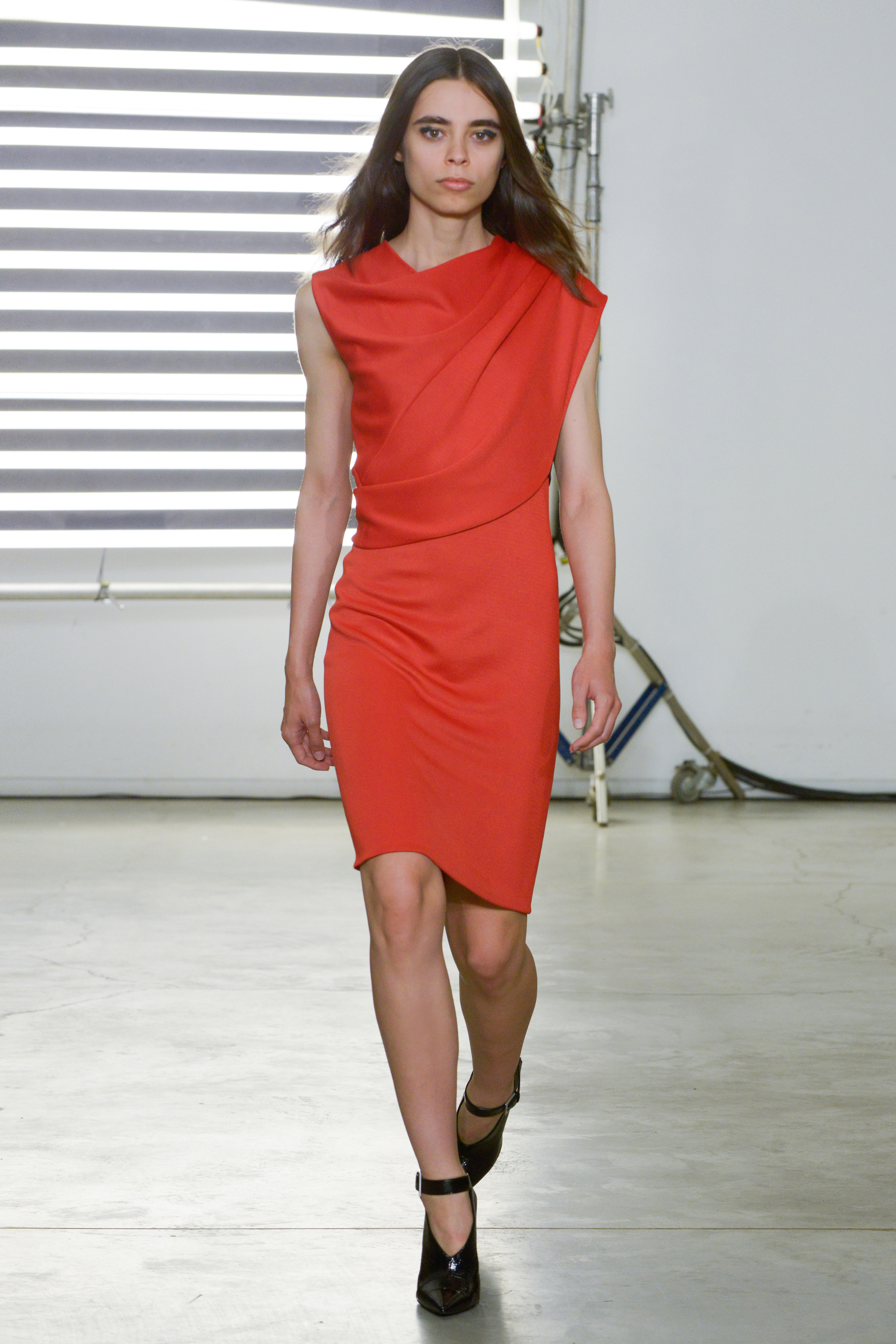 Look 10 Red jersey layered dress.