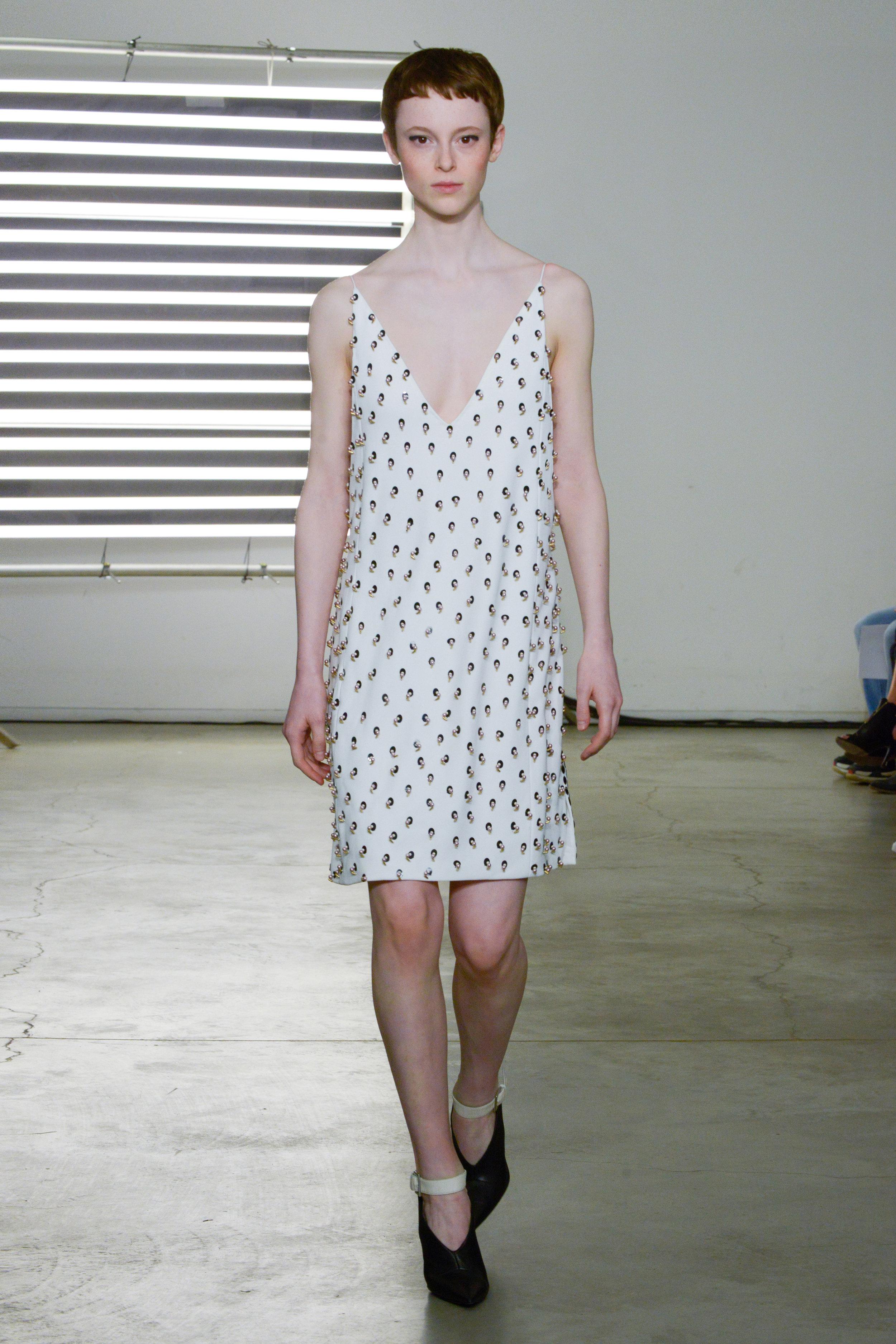 Look 13 Swarovski embroidered white crepe dress.