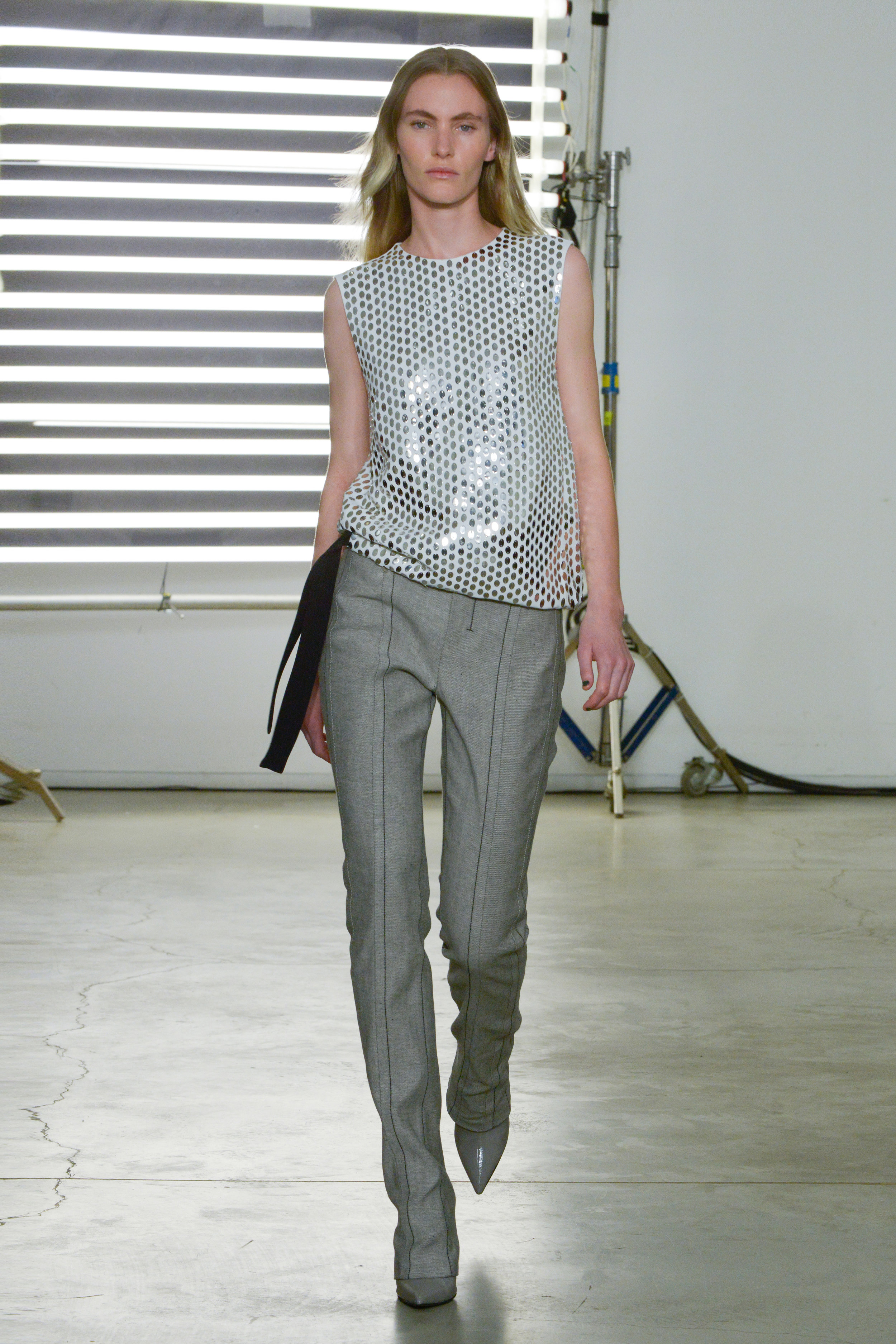 Look 15 Silver embroidered white crepe top with reverse denim pant.