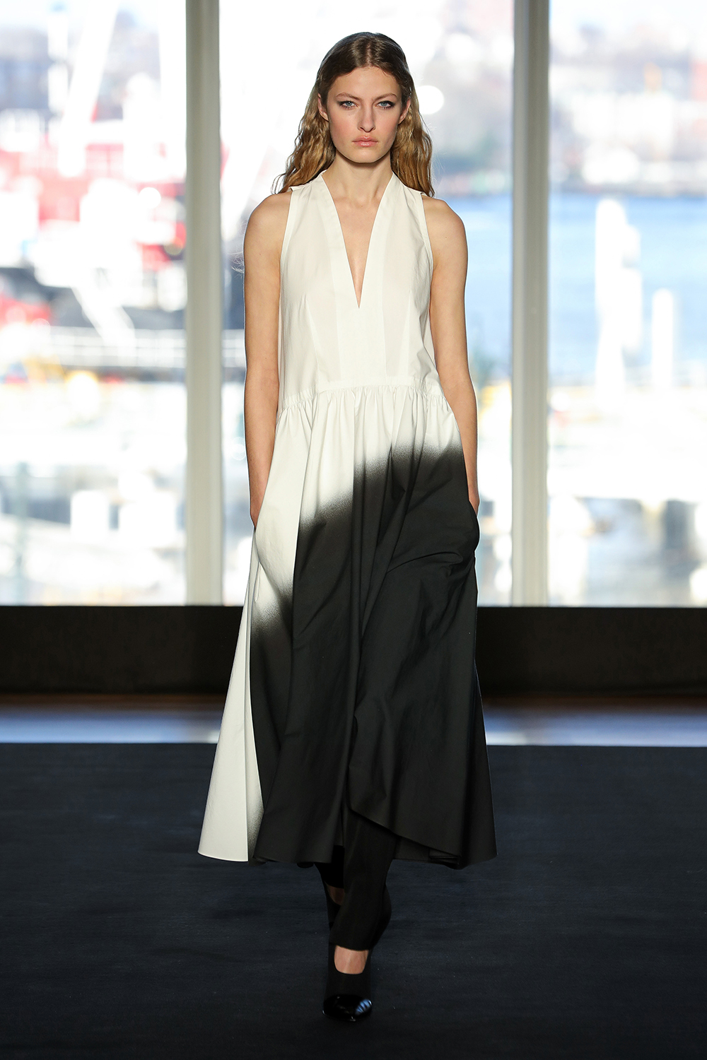 Look 1 White/charcoal dye cotton dress black with wool twill pant.