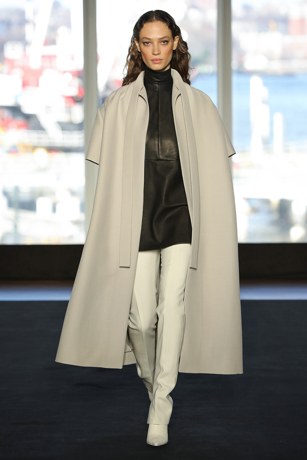 Look 2 Stone wool barathea coat over black leather/wool tunic with white wool twill pant.