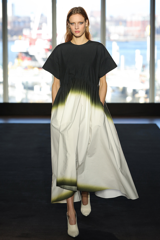 Look 3 White/chartreuse/black dye cotton dress.