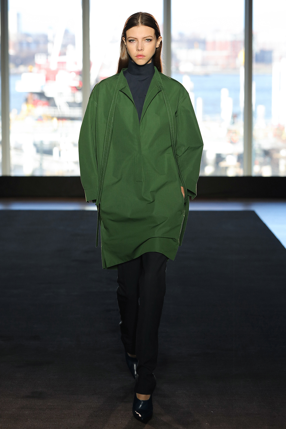 Look 6 Moss cotton shirt dress over navy cotton top with  dark teal wool twill pant.