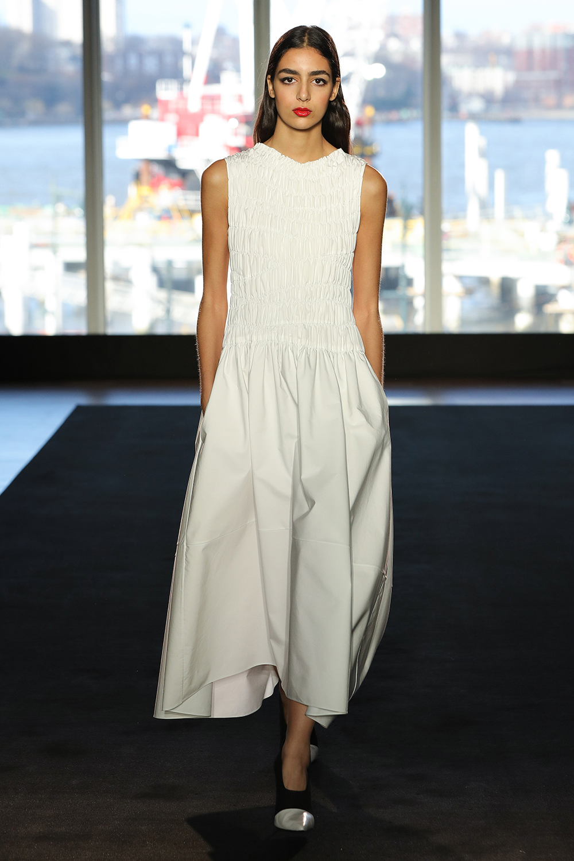 Look 9 White engineered pleat cotton dress.