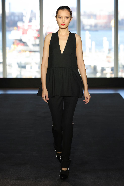 Look 10 Black wool twill peplum top with black wool twill pant.