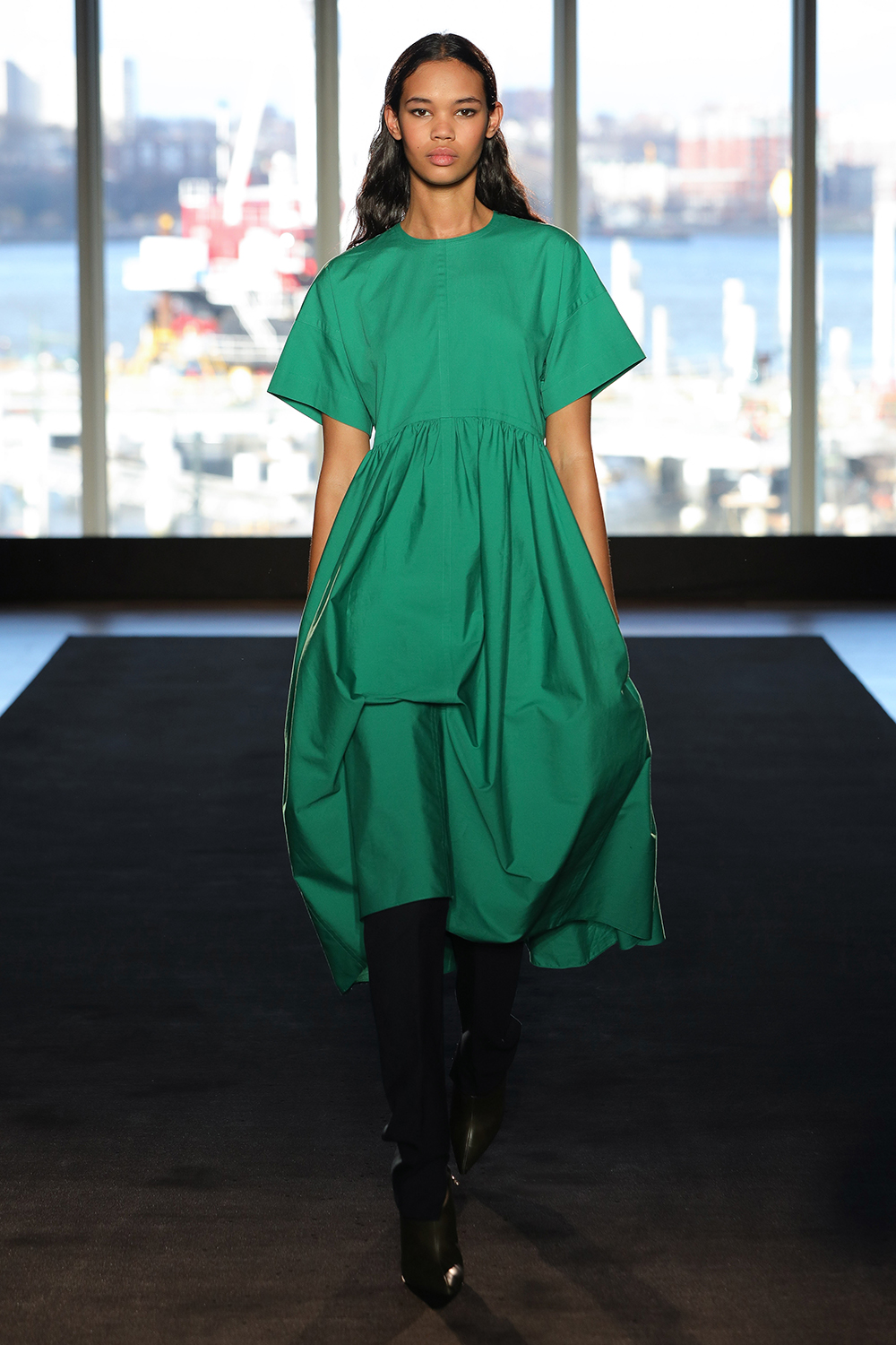 Look 11 Emerald cotton ivy dress with dark teal wool twill pant.