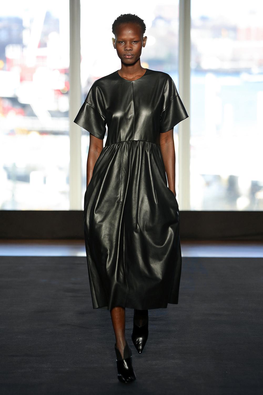 Look 12 Black leather ivy dress.