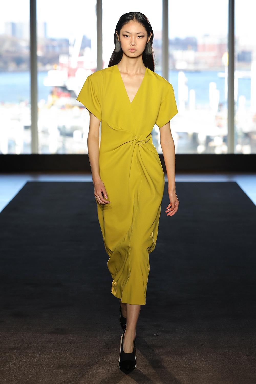 Look 13 Chartreuse wool crepe tie dress.
