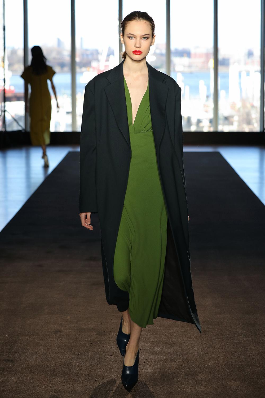 Look 14 Dark teal wool twill coat over olive wool crepe bias dress.