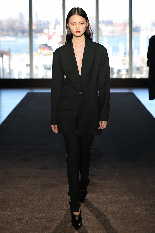 Look 15 Black wool twill suit.