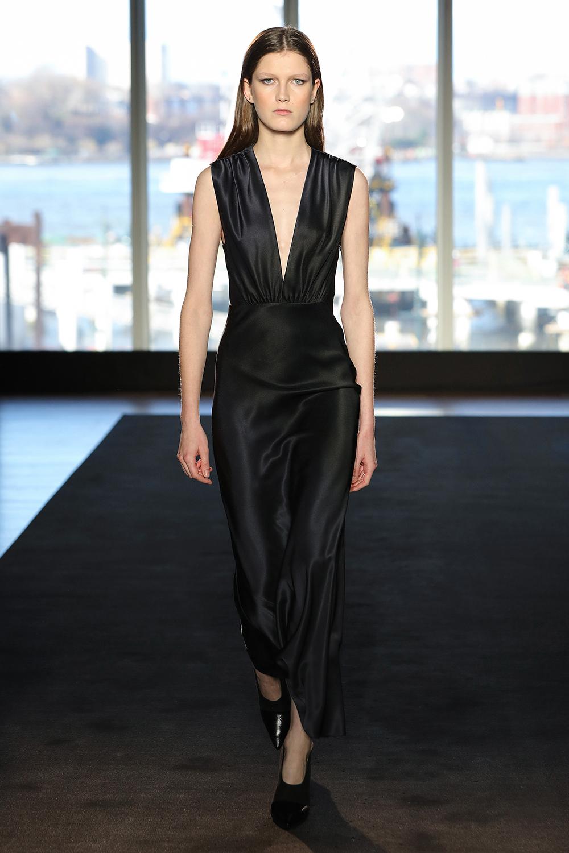 Look 16 Black/ink dye bias silk dress.