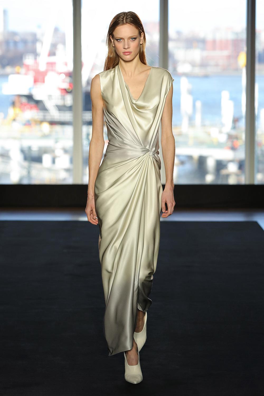 Look 17 Silver/citrine dye bias tie dress.