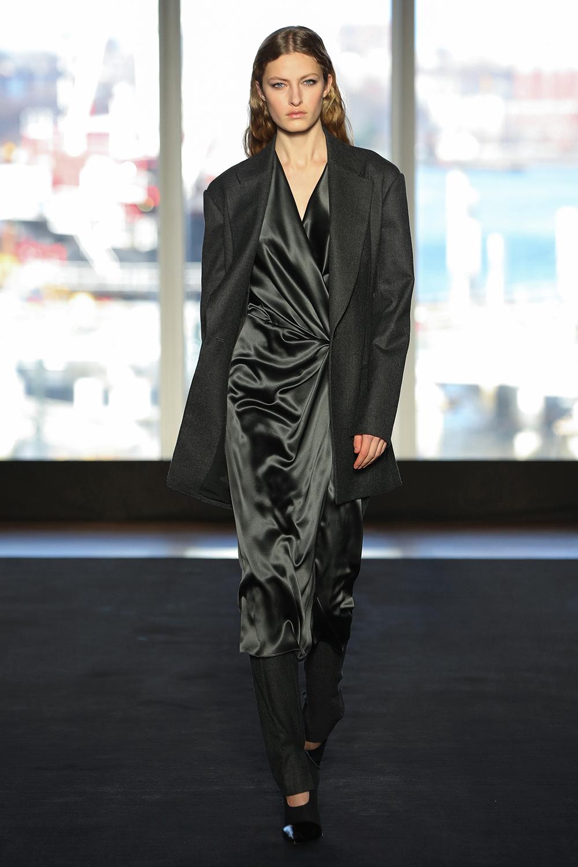 Look 18 Charcoal wool flannel suit over charcoal bias silk tie dress.