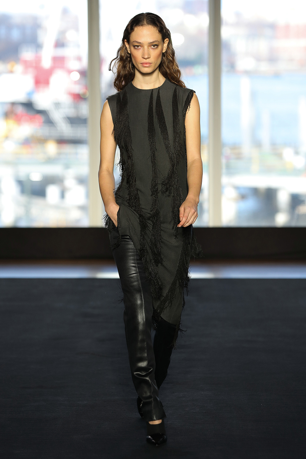 Look 19 Slate metal chain embroidered wool tunic with slate laminated satin pant.