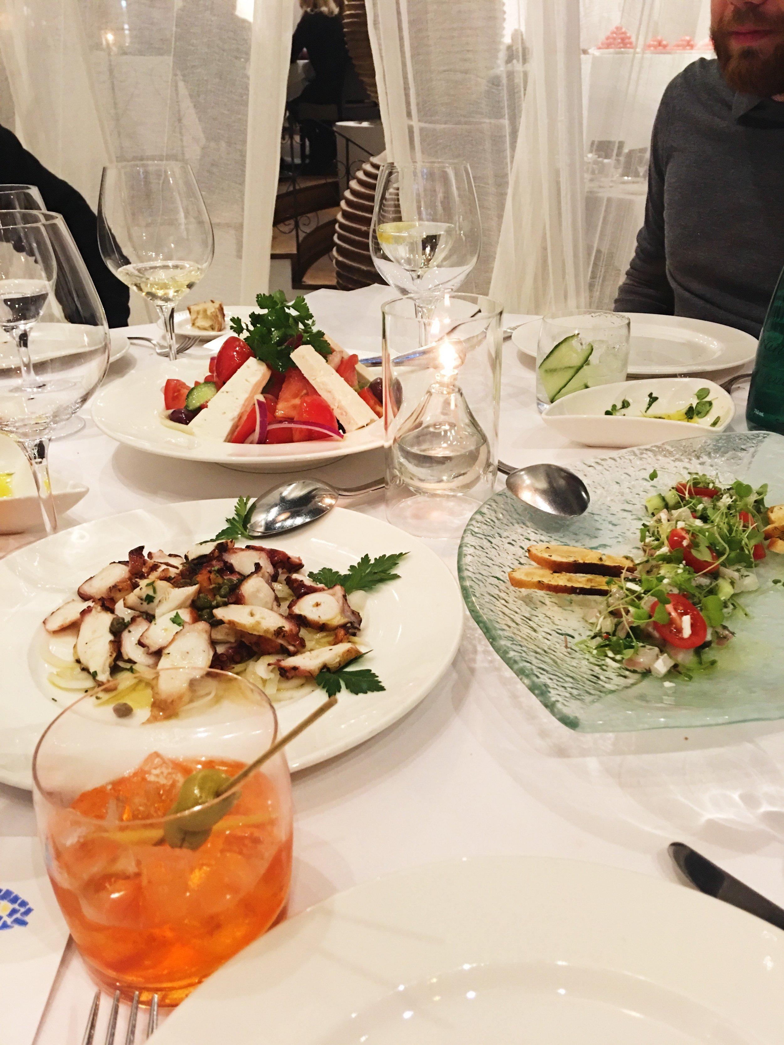 Pieuvre, salade grecque et ceviche -Crédit photo : Juliette Cordeau