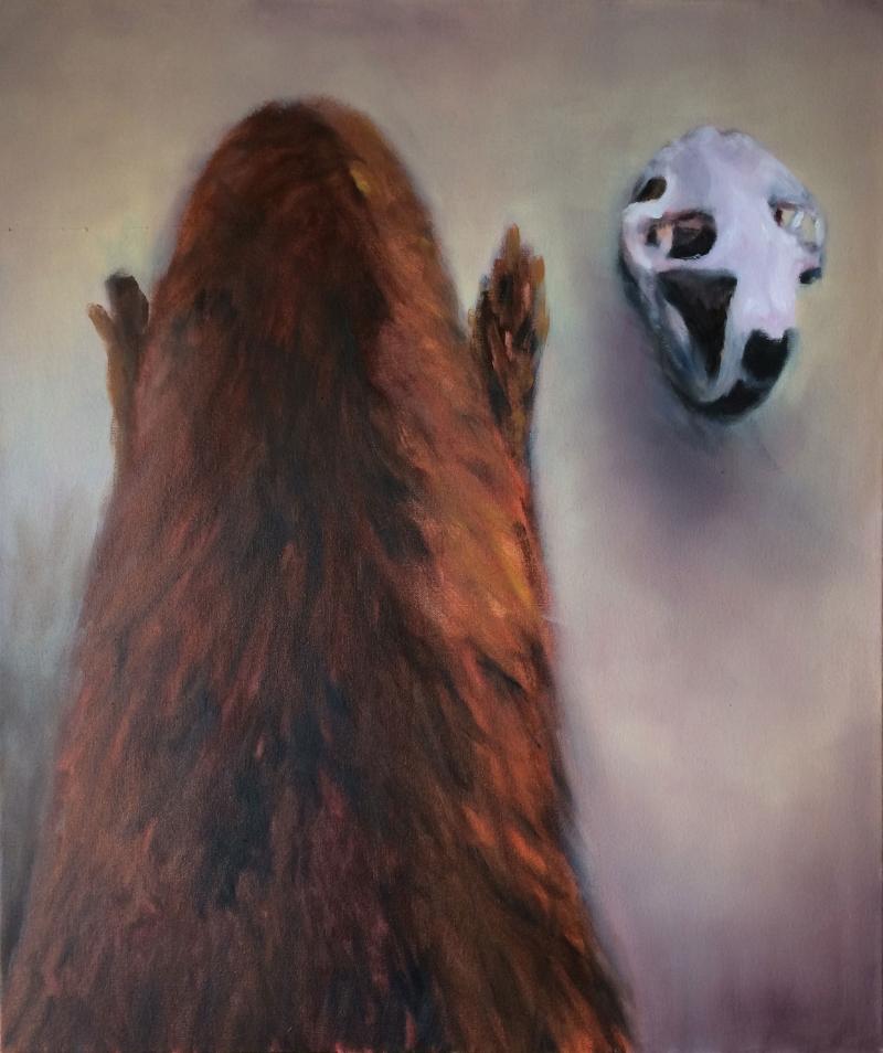 Beaver Contemplates His Own Skull