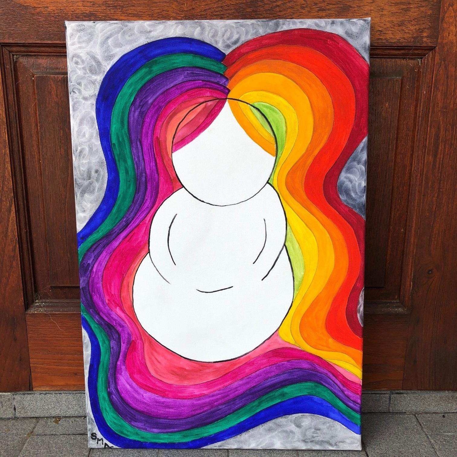 Rainbow Hair Meditations , 2018  Watercolor on Canvas 40cm x 60cm THB 5,800