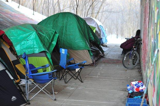 A homeless camp under a bridge in Ann Arbor in 2015.  (File photo | The Ann Arbor News)