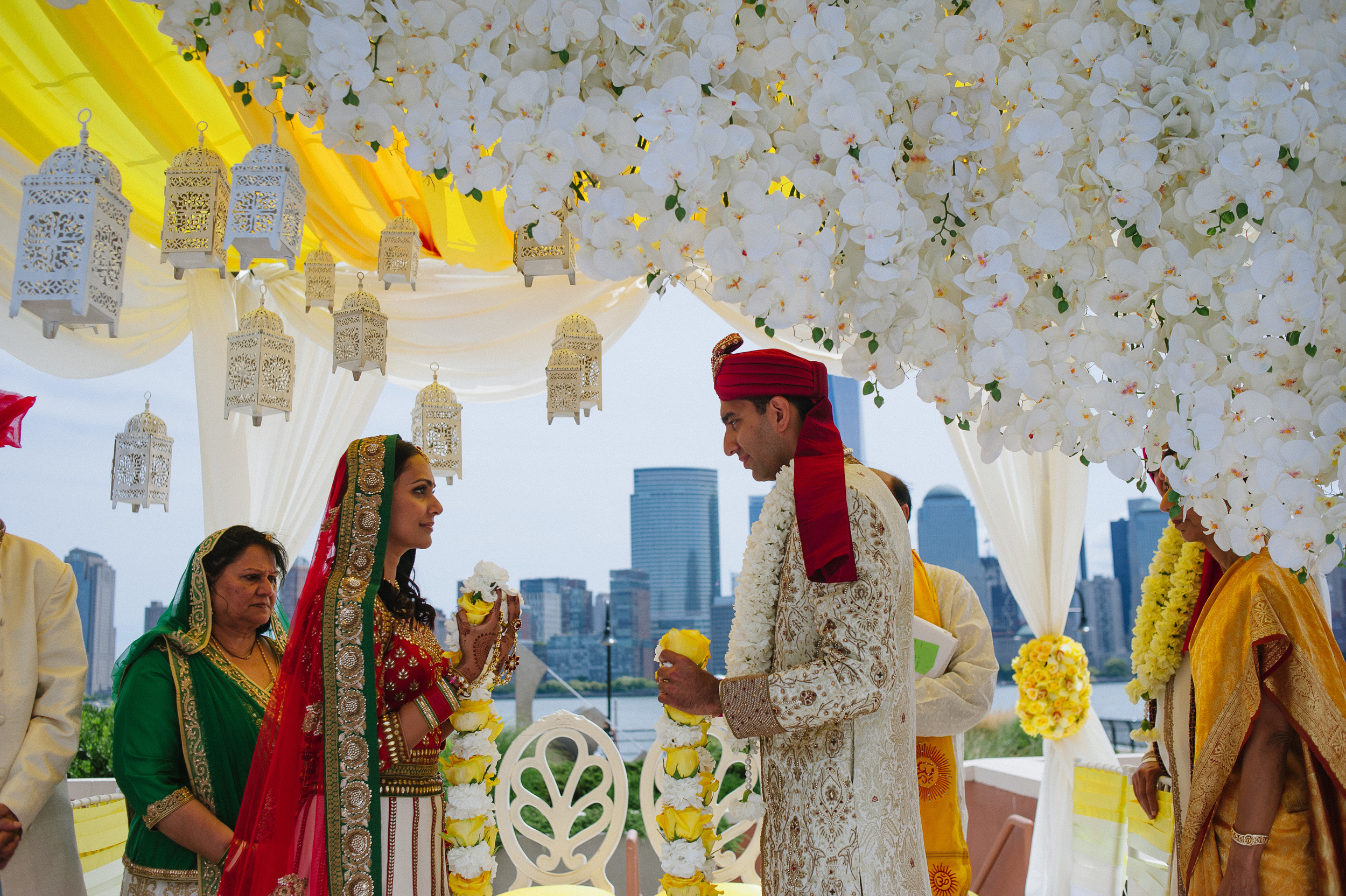 INDIAN BRIDE AND GROOM IN MANDAP
