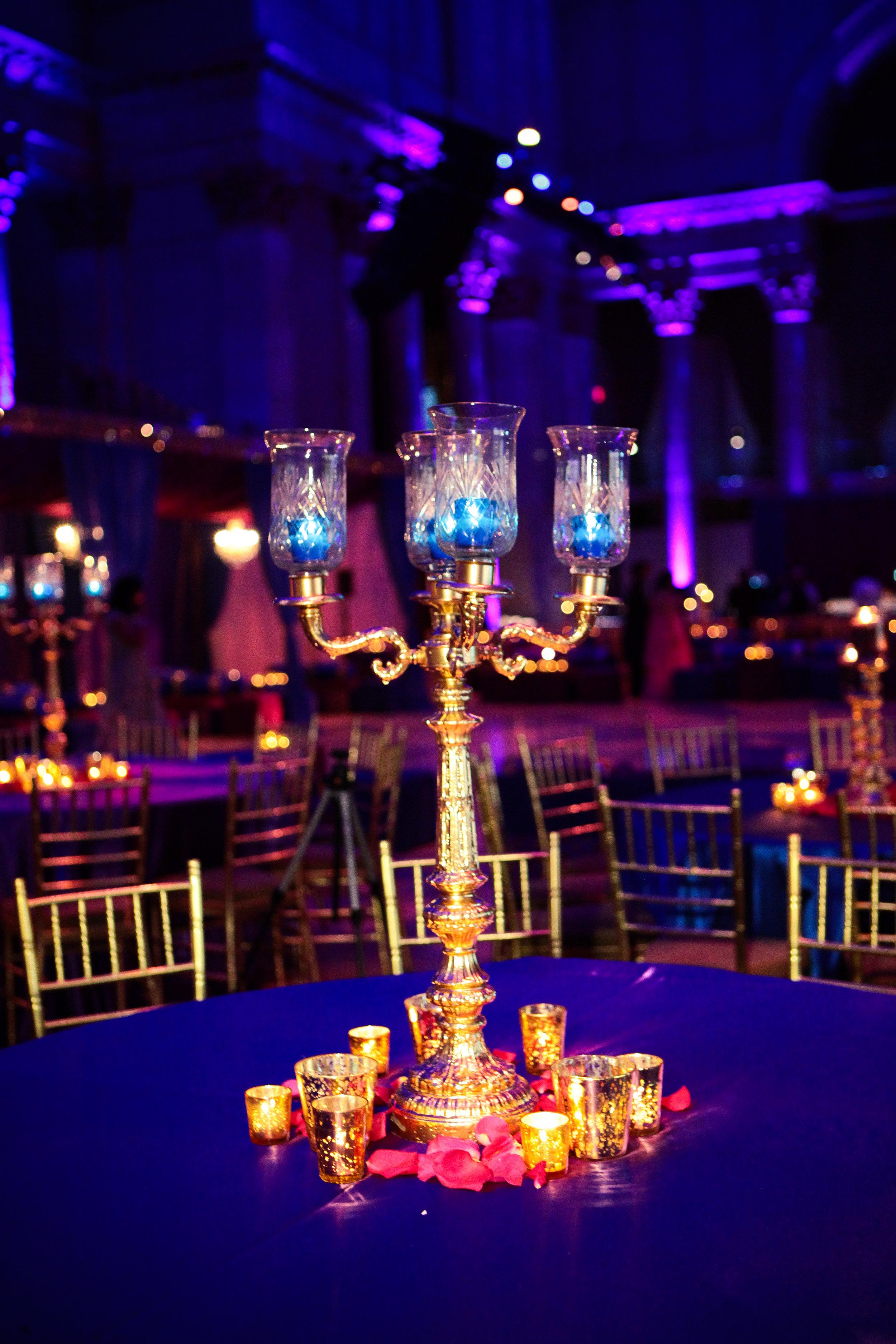 Gold Candelabra in Blue in Purple Room