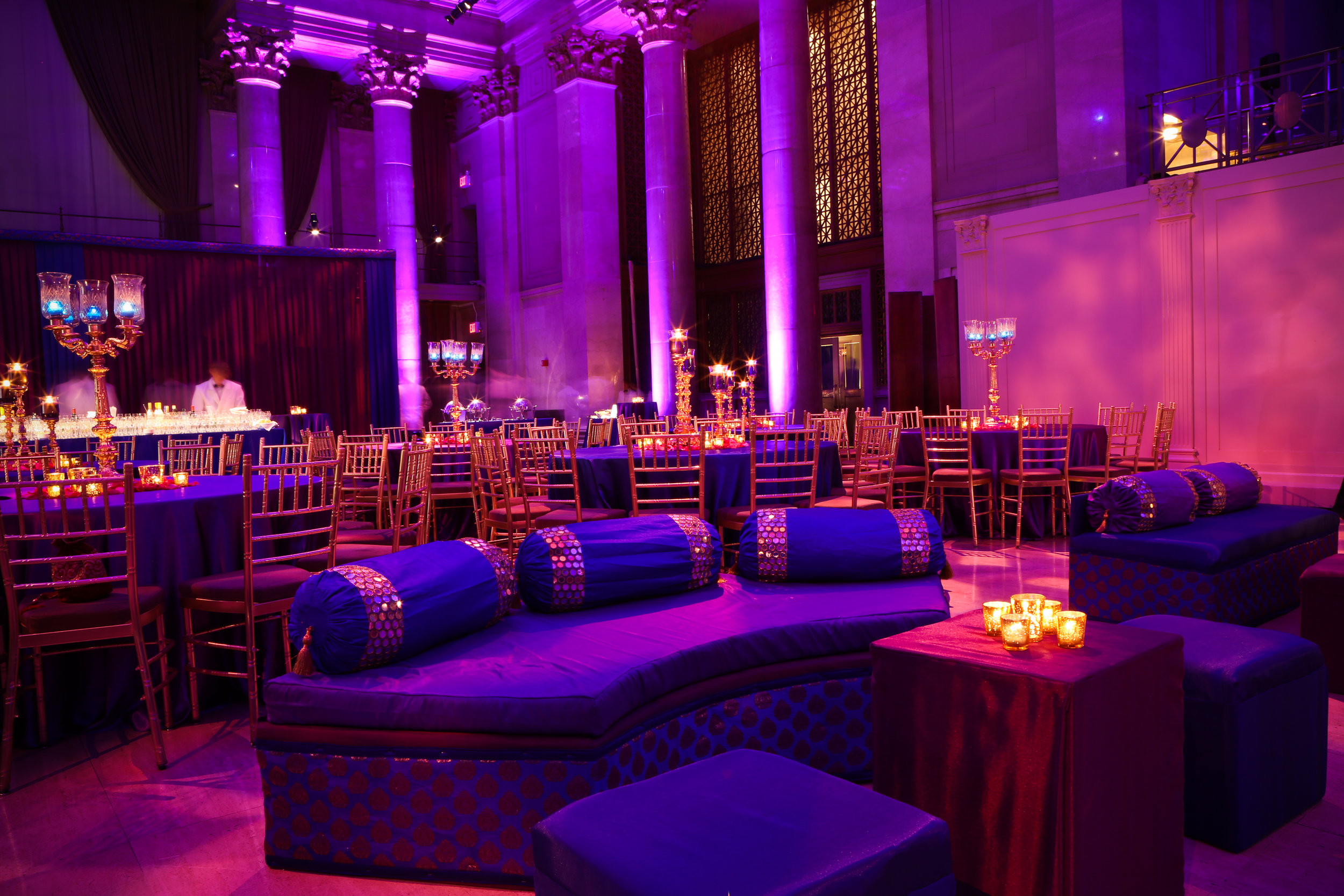 Blue and Purple Sangeet with Mehndi Sofas