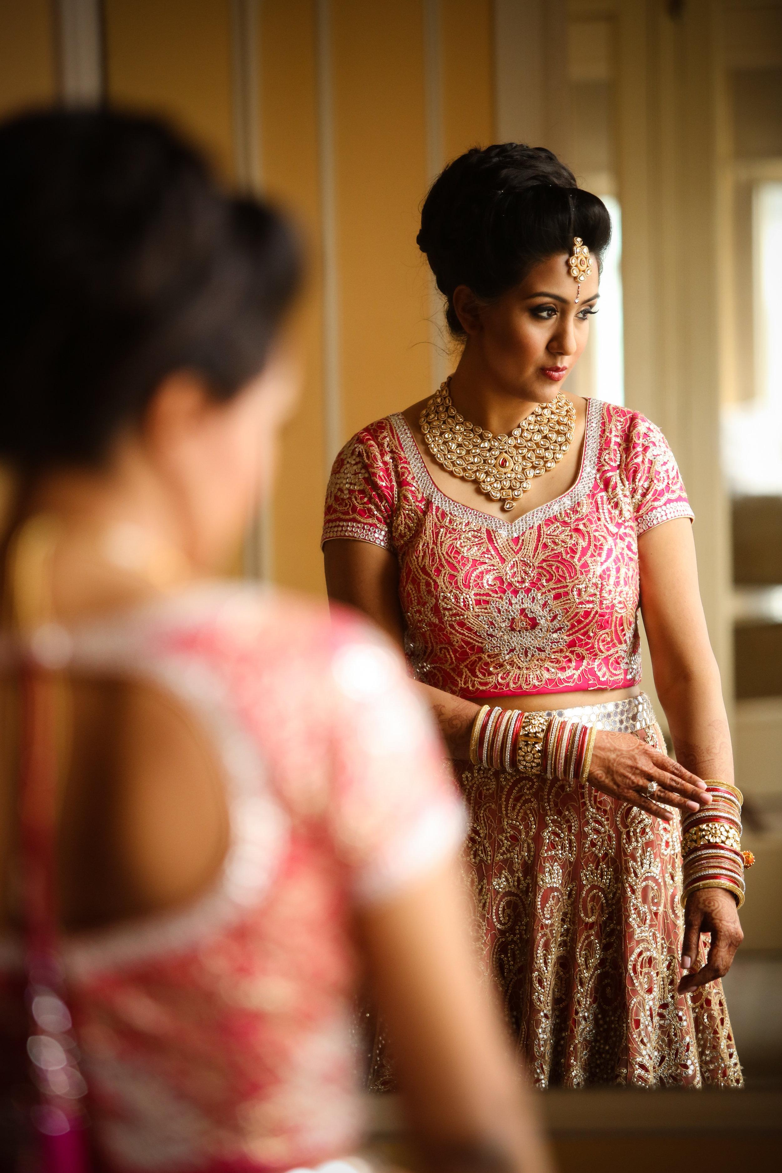 Indian bride in mirror