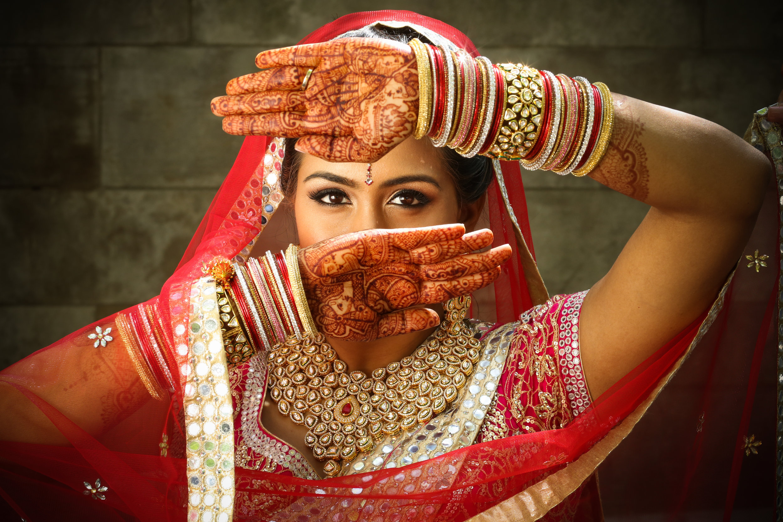 Indian Bride with bangles and henna