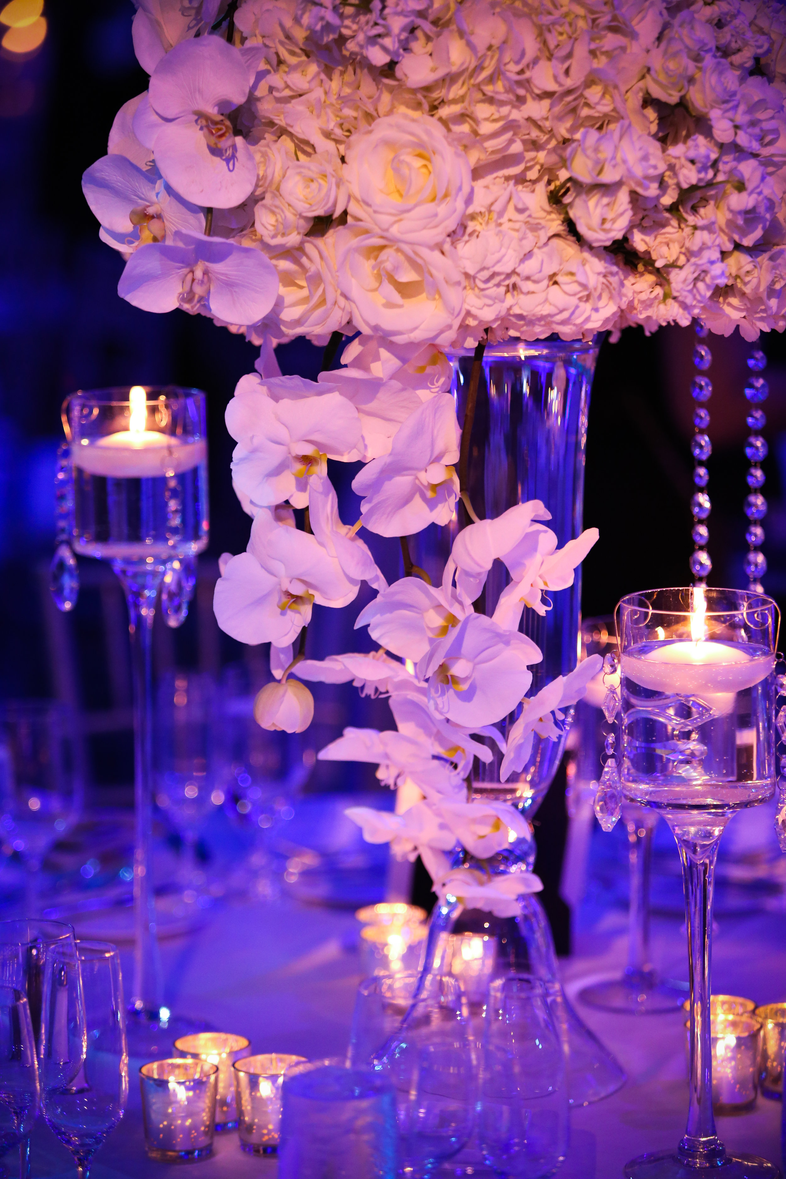 Large centerpiece with orchids