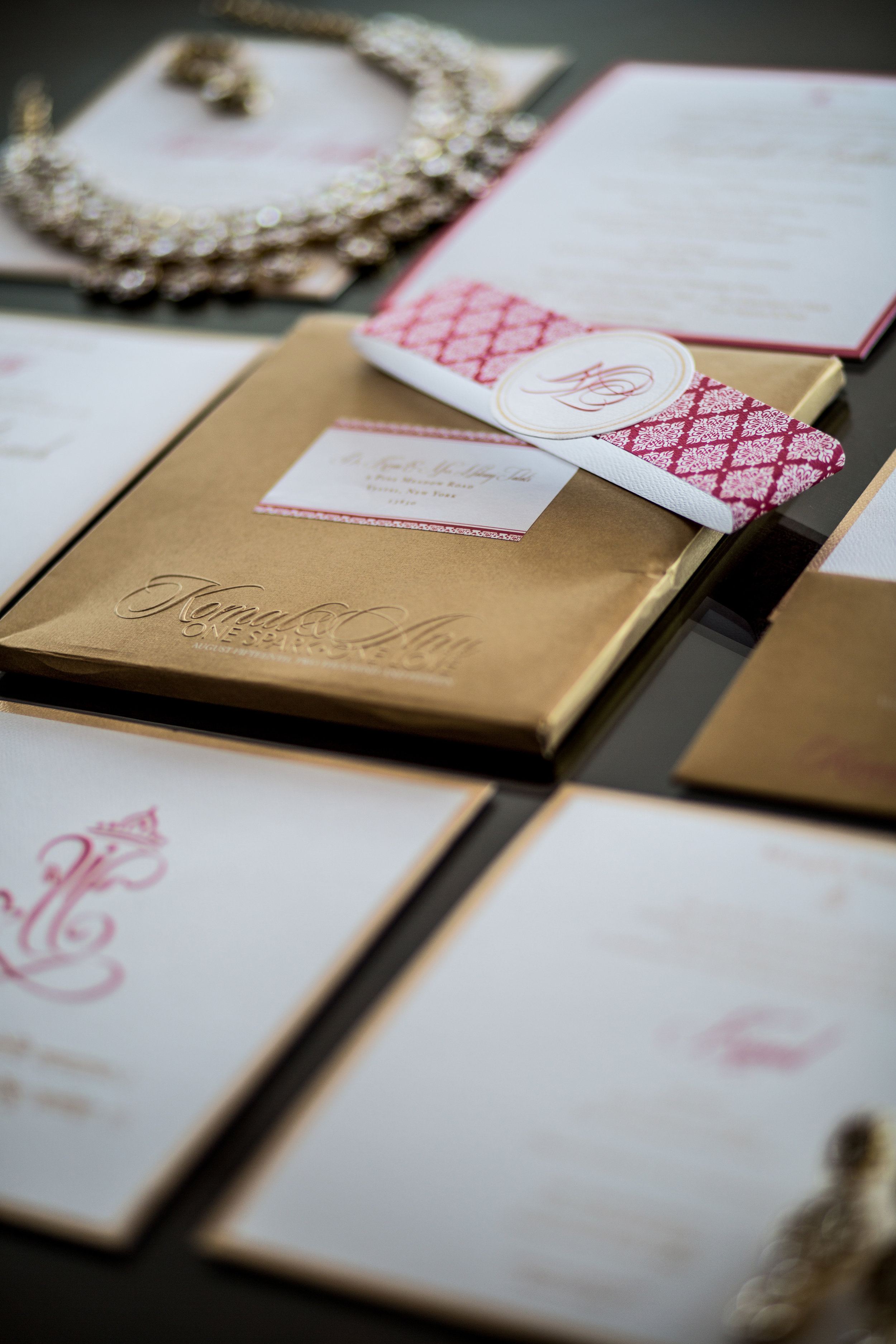 Gold and pink stationery