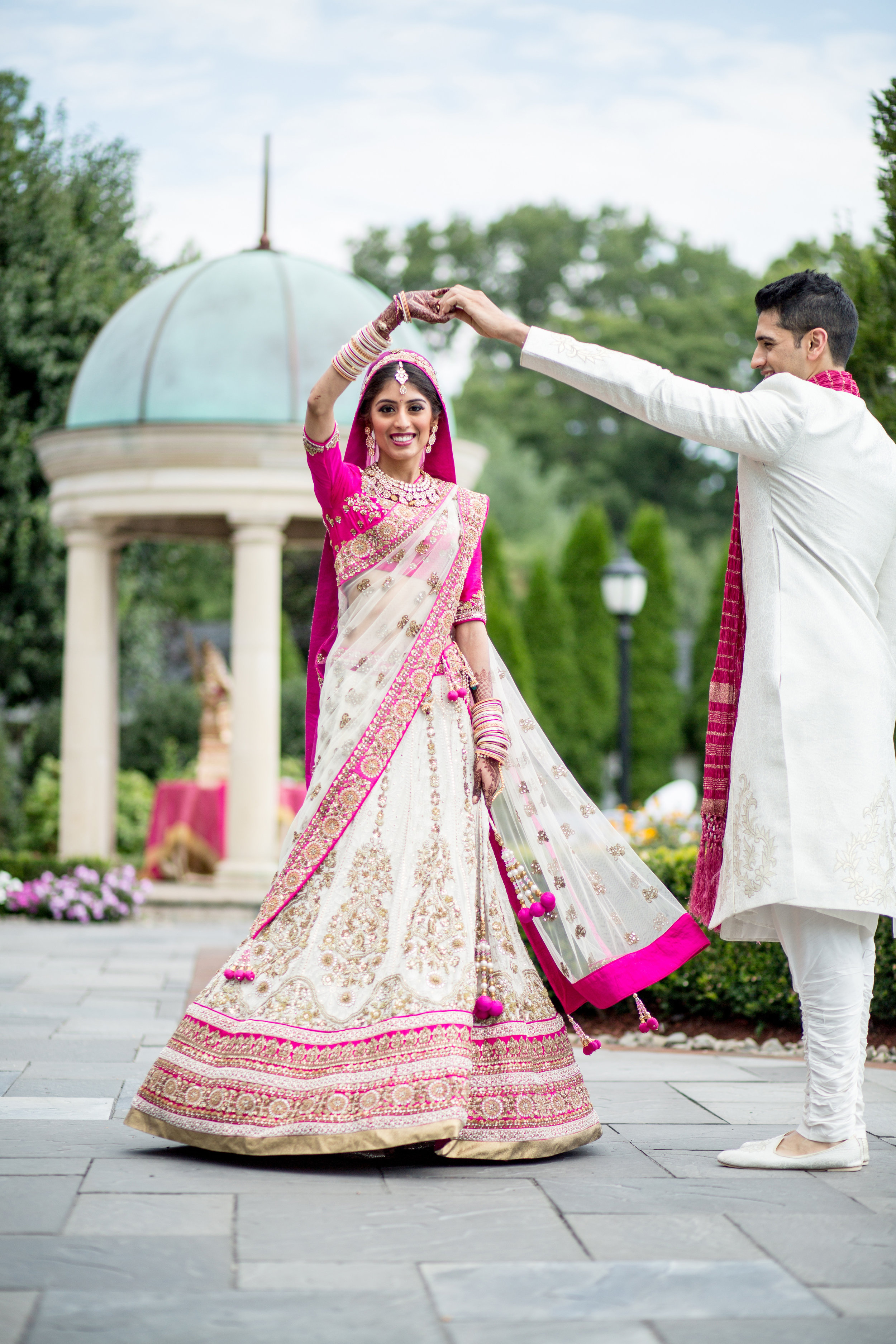 Indian couple twirling