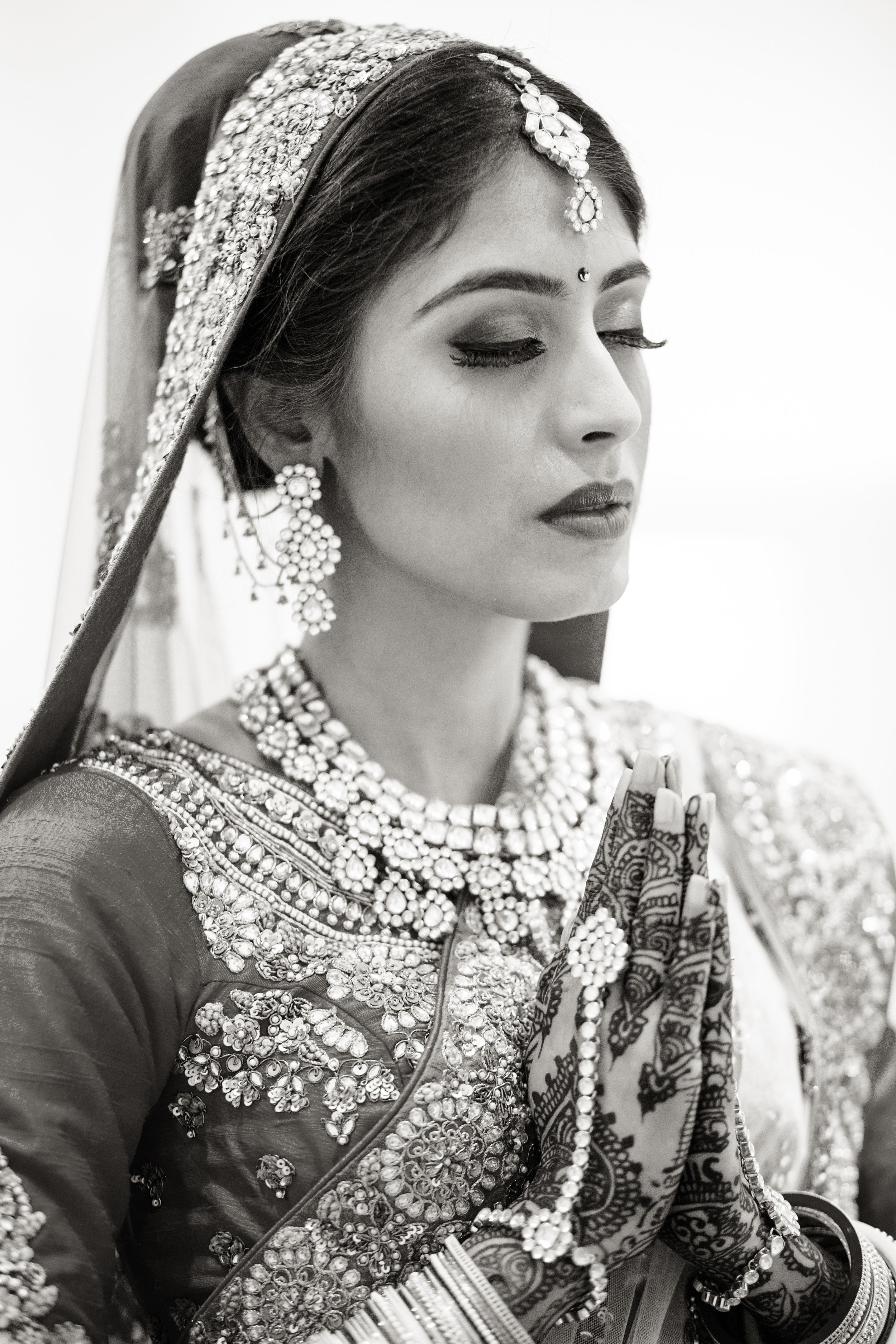 praying bride
