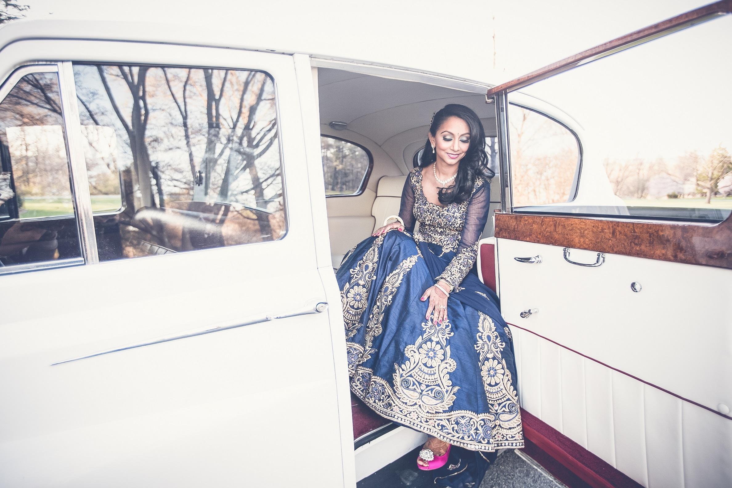 INDIAN BRIDE IN VINTAGE CAR