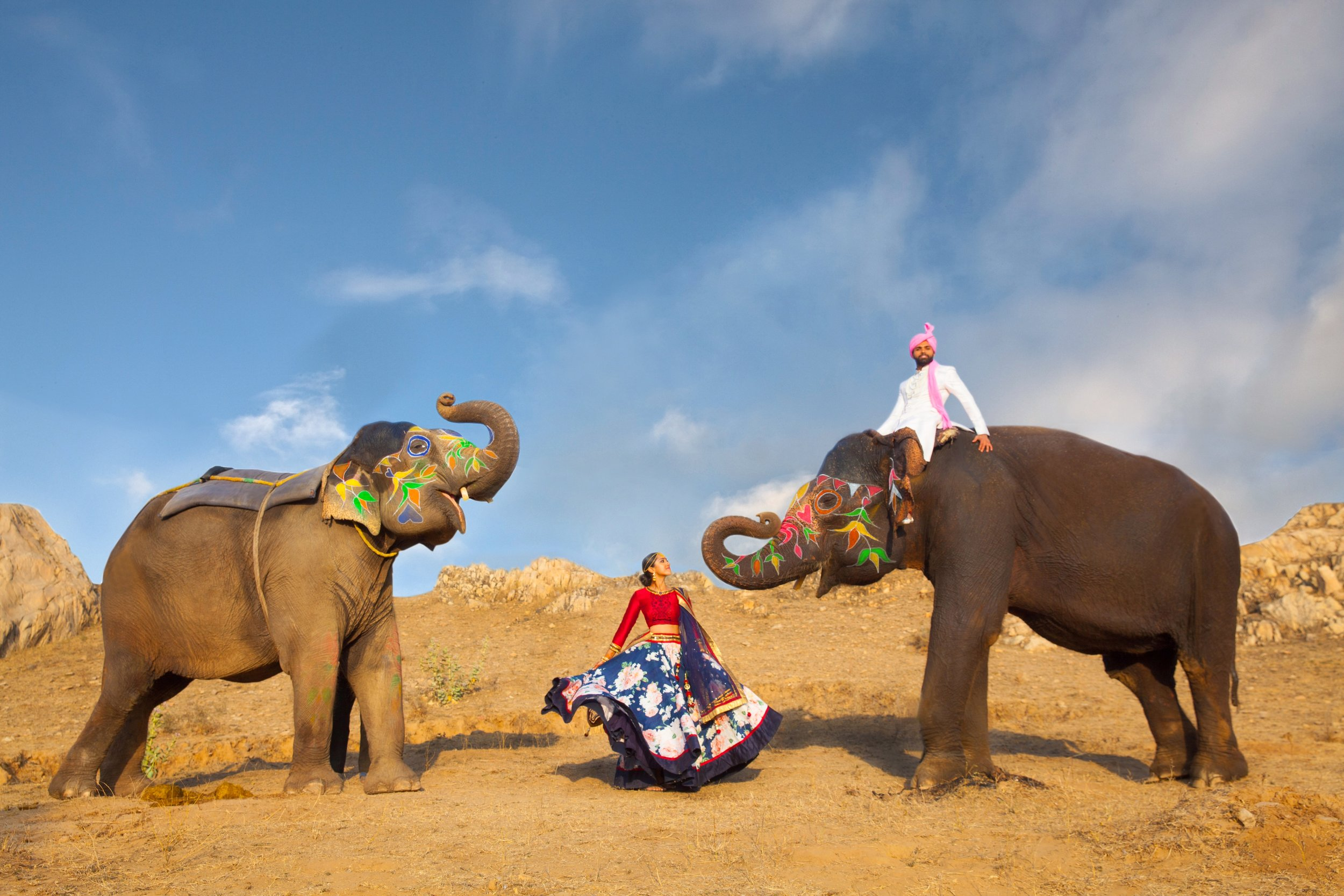 India Engagement Bride and Groom with Elephant (1).jpg