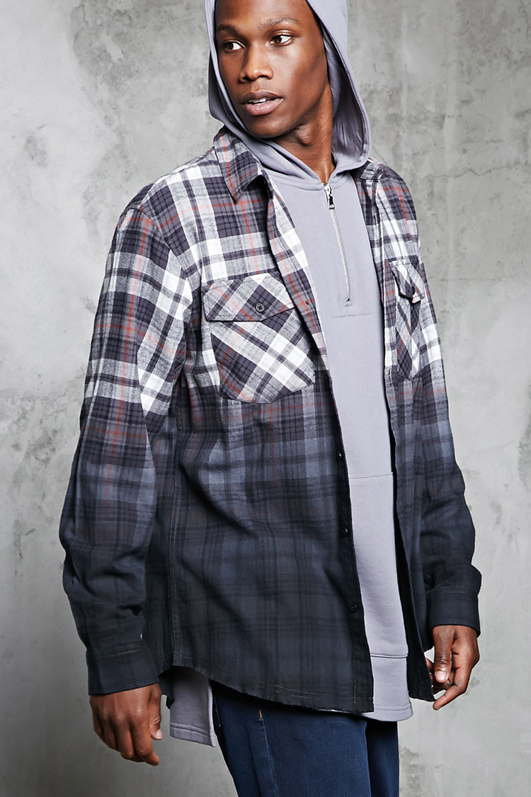 Ombre-Dye Flannel Shirt-FOREVERE 21