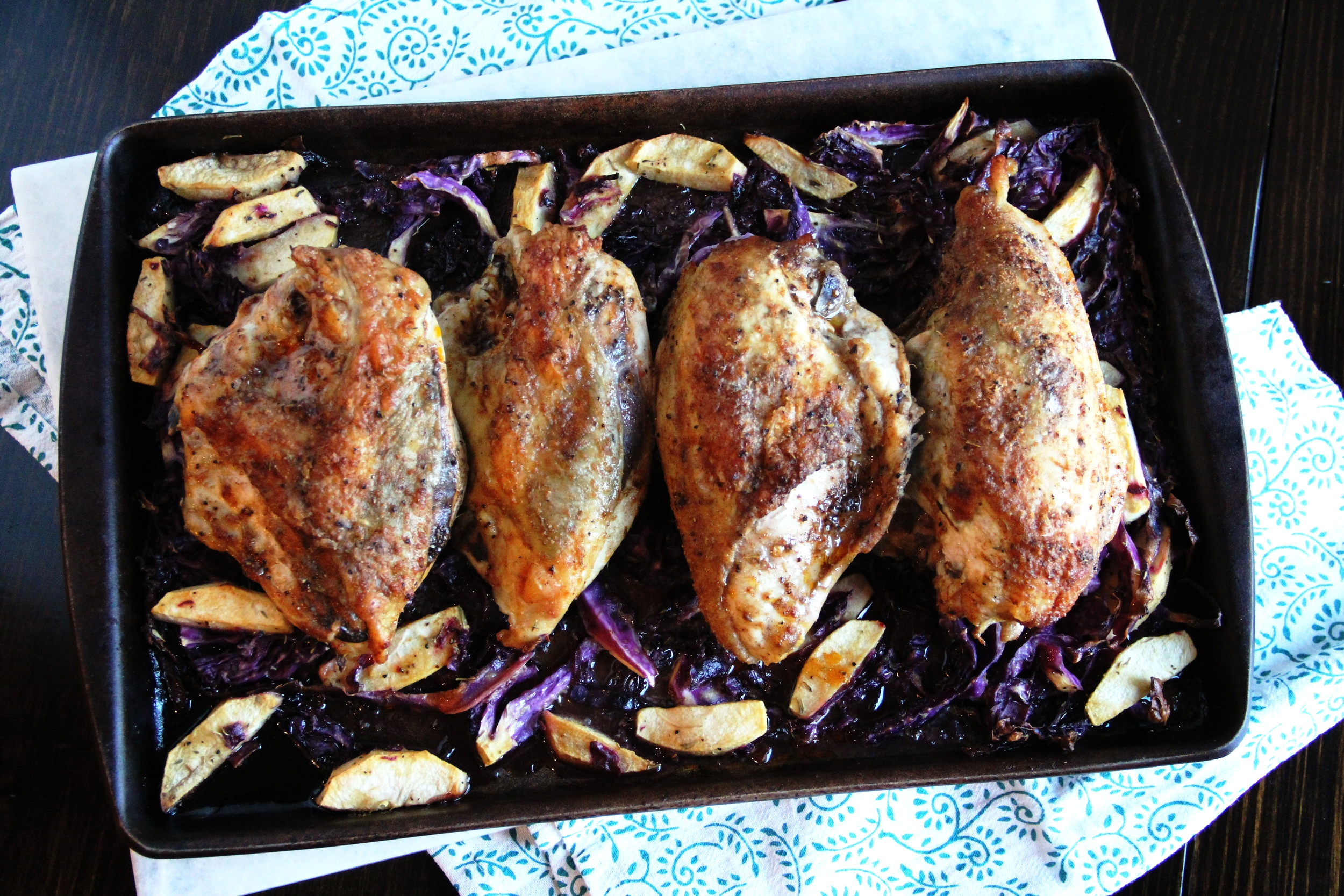 Roasted Chicken with Cabbage & Apple {One sheet pan meal}